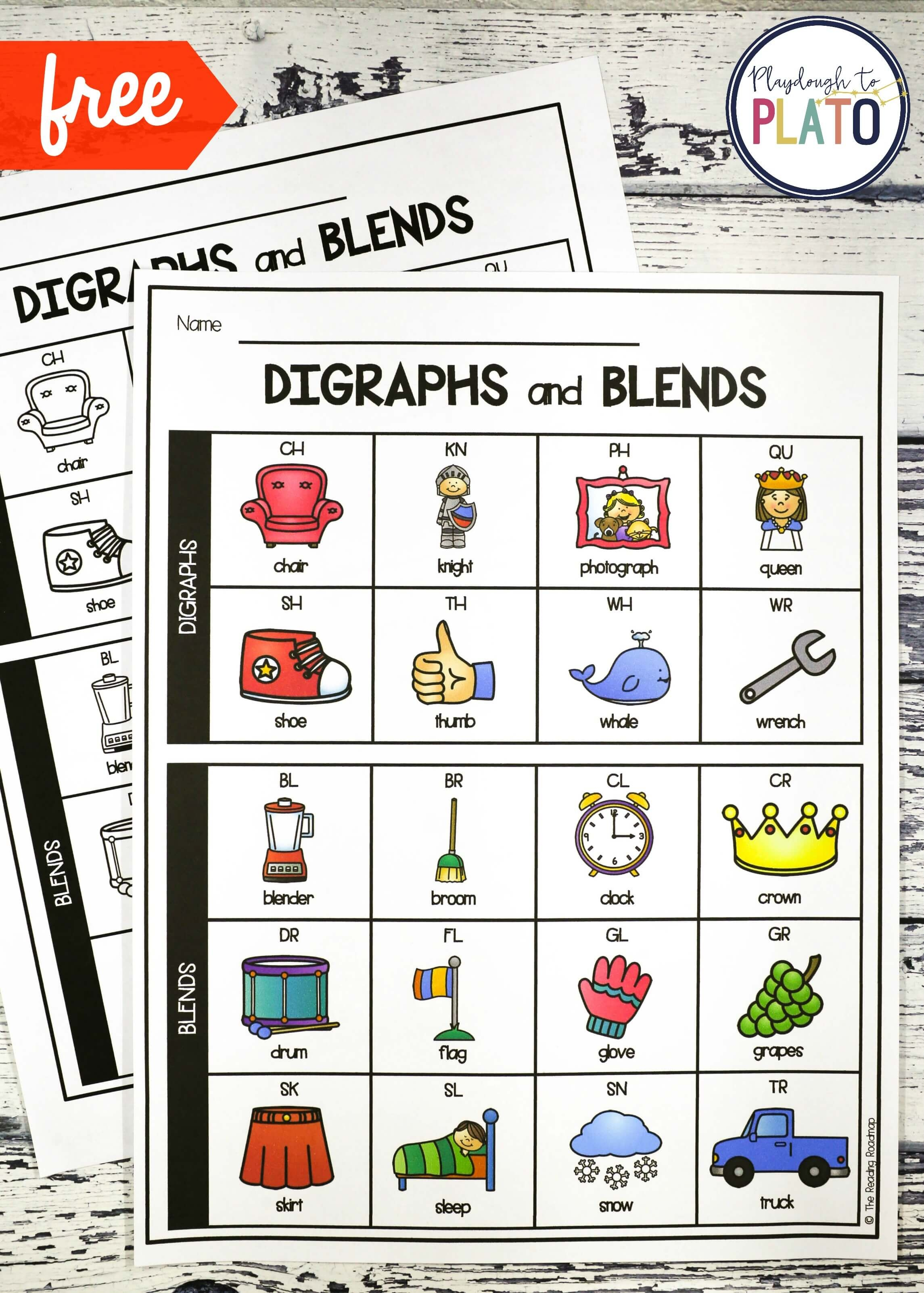 Digraph And Blend Chart - Playdough To Plato - Free Printable Ch Digraph Worksheets