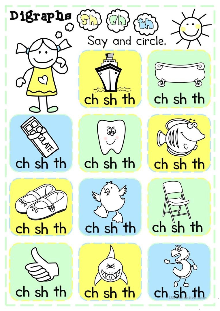 Digraphs - Sh, Ch, Th - Multiple Choice Worksheet - Free Esl - Free Printable Ch Digraph Worksheets