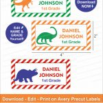 Dinosaur Name Labels/ Dinosaur School Labels/ Printable School Name   Free Printable Dinosaur Labels