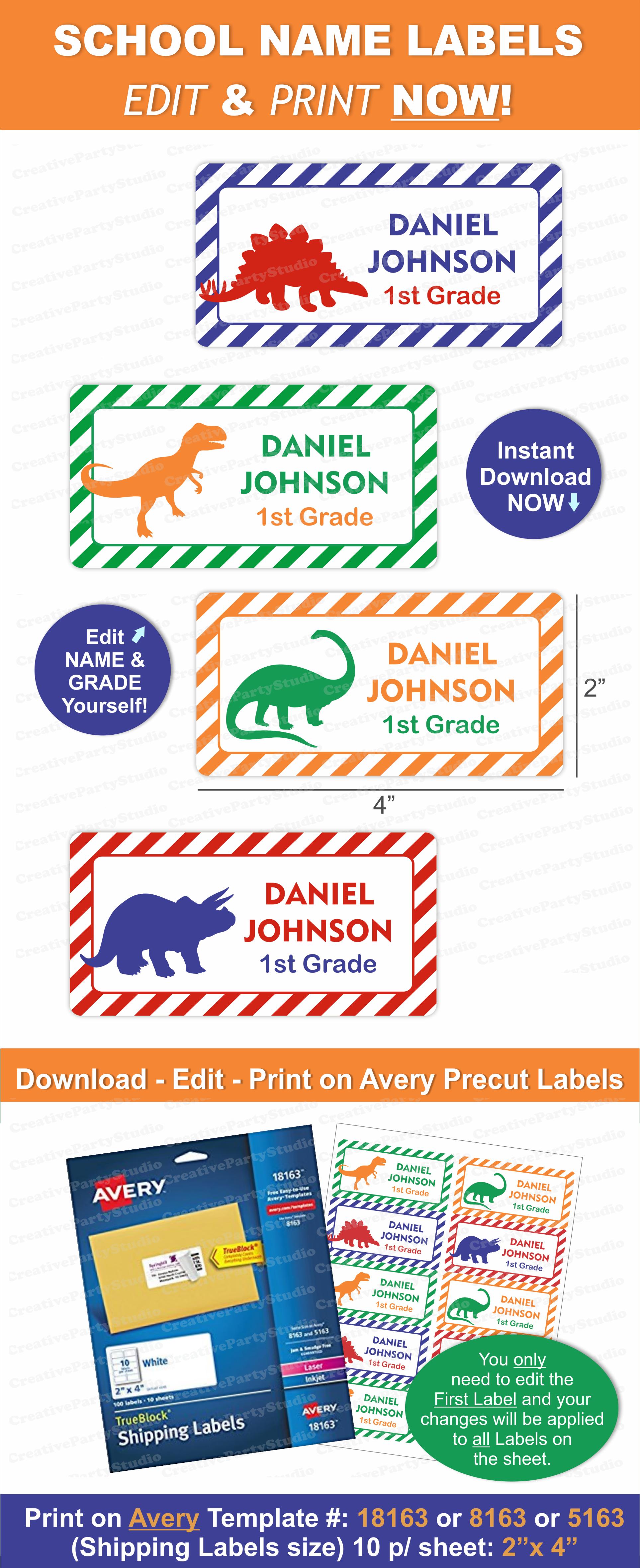 Dinosaur Name Labels/ Dinosaur School Labels/ Printable School Name - Free Printable Dinosaur Labels