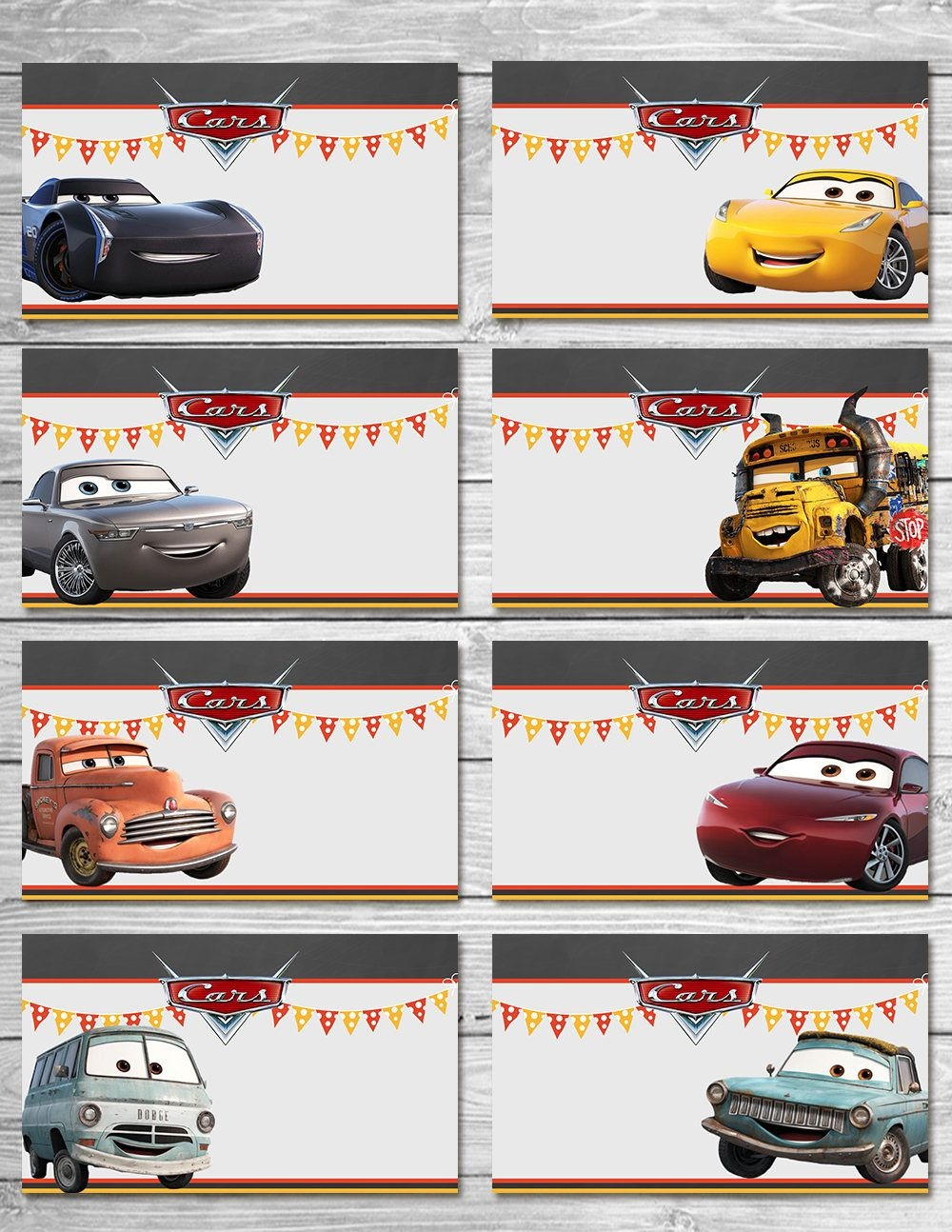 Disney Cars 3 Food Tents Chalkboard Set 3 - Cars Food Label - Disney - Free Printable Cars Food Labels