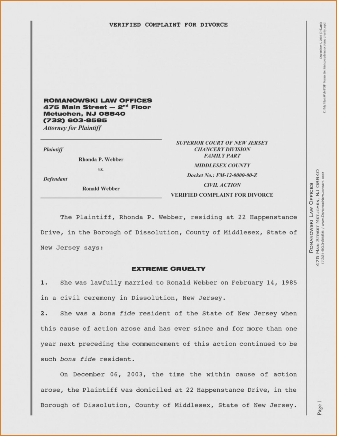 Divorce Papers Template Nj – Templates : Resume Examples .. – Form - Free Printable Nj Divorce Forms