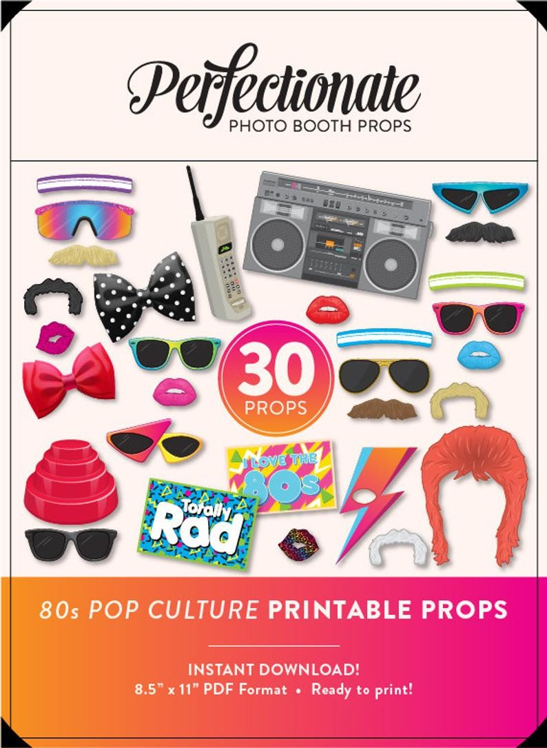 Diy 80S Photo Booth Props 30 Printable 80S Props Instant | Etsy - 80S Photo Booth Props Printable Free