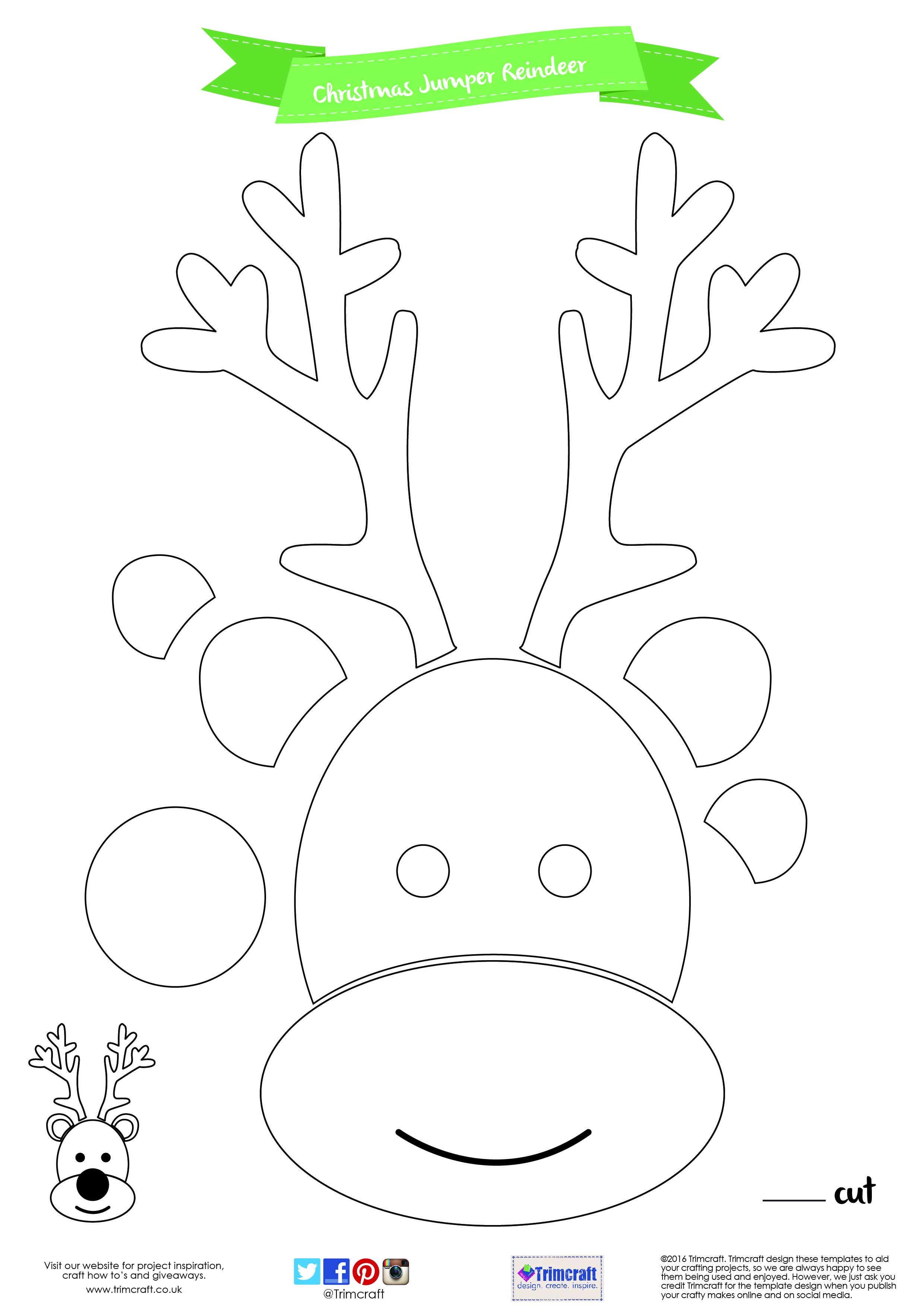 Diy Christmas Jumper Tutorial With Free Printable Template | Cut - Reindeer Antlers Template Free Printable