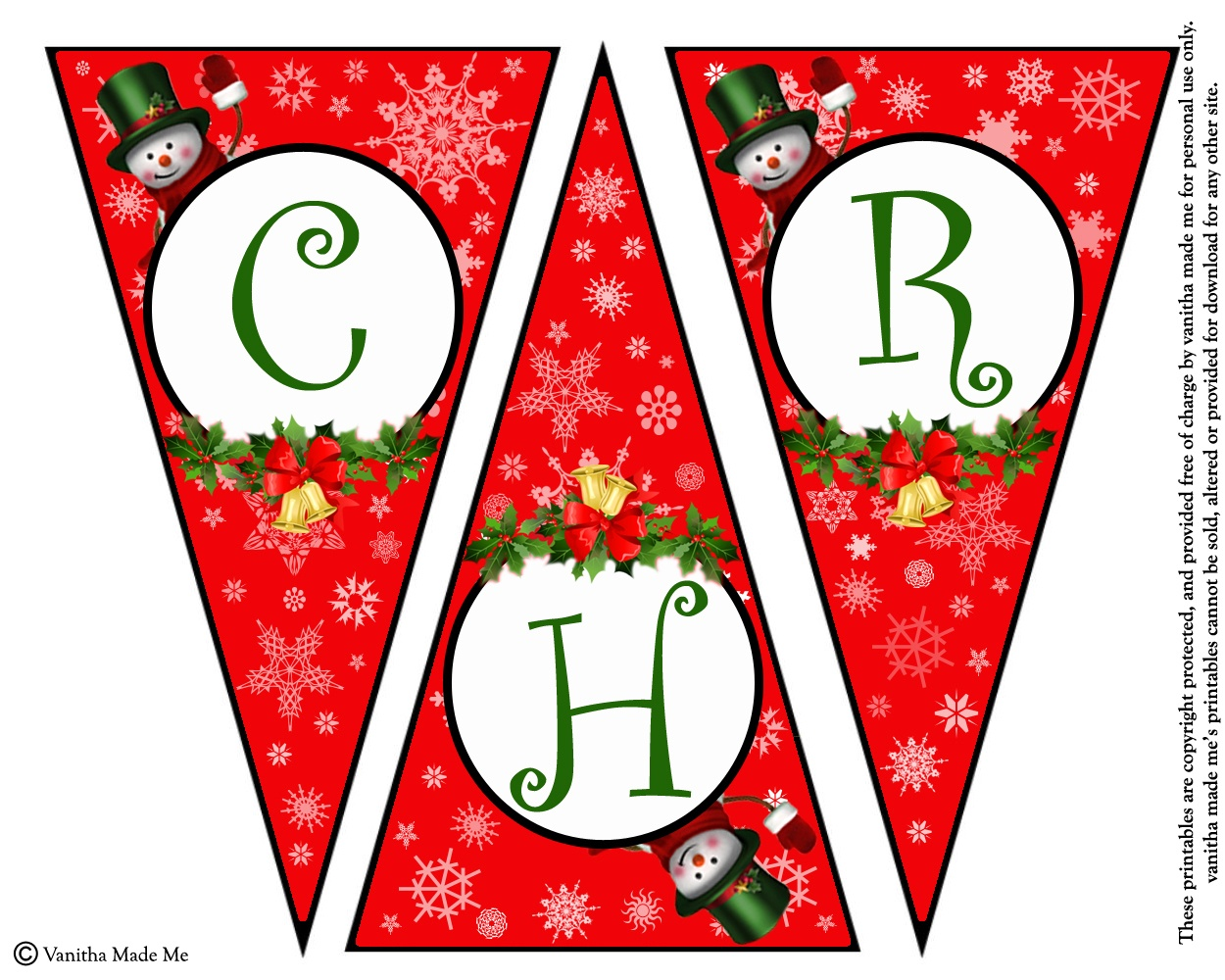 Diy Free Printable Christmas Banner   Vanitha Made Me - Free Printable Christmas Banner