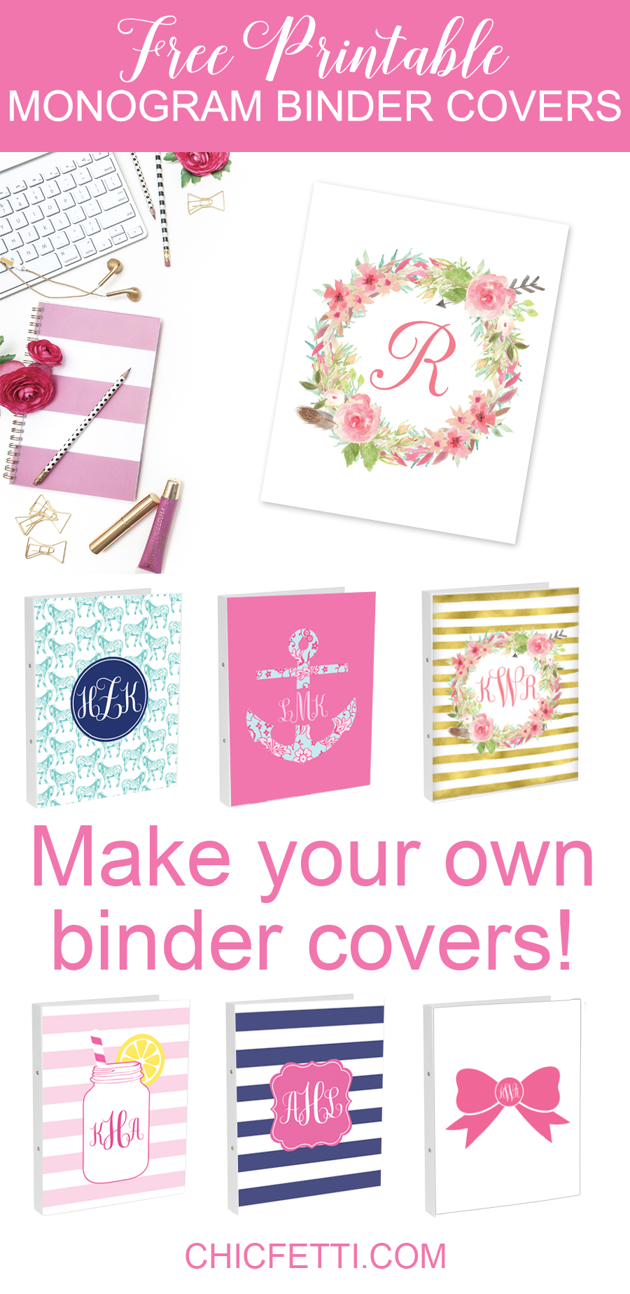 Diy Monogram Binder Covers Using Free Monogram Templates | Free - Free Printable Monogram Binder Covers