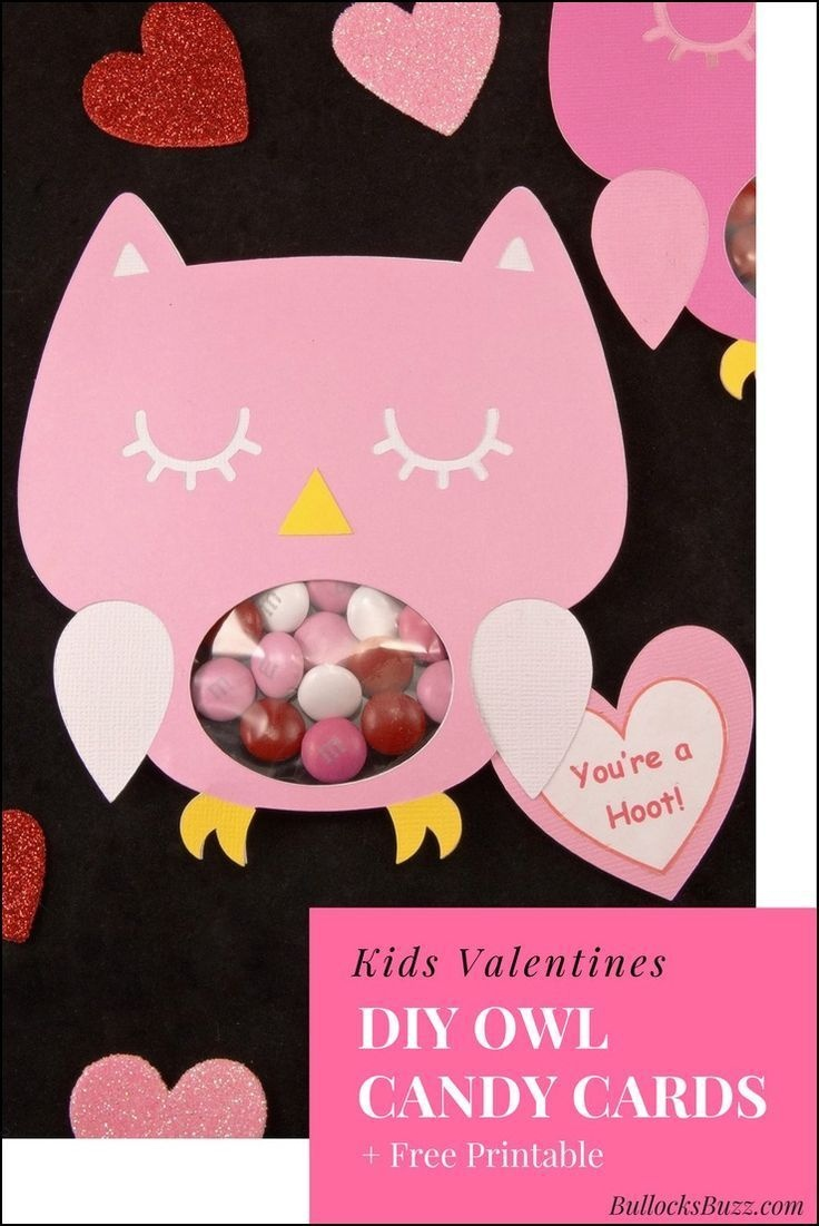 Diy Owl Valentines Candy Cards + Free Printable!   Valentine's Day - Free Printable Owl Valentine Cards