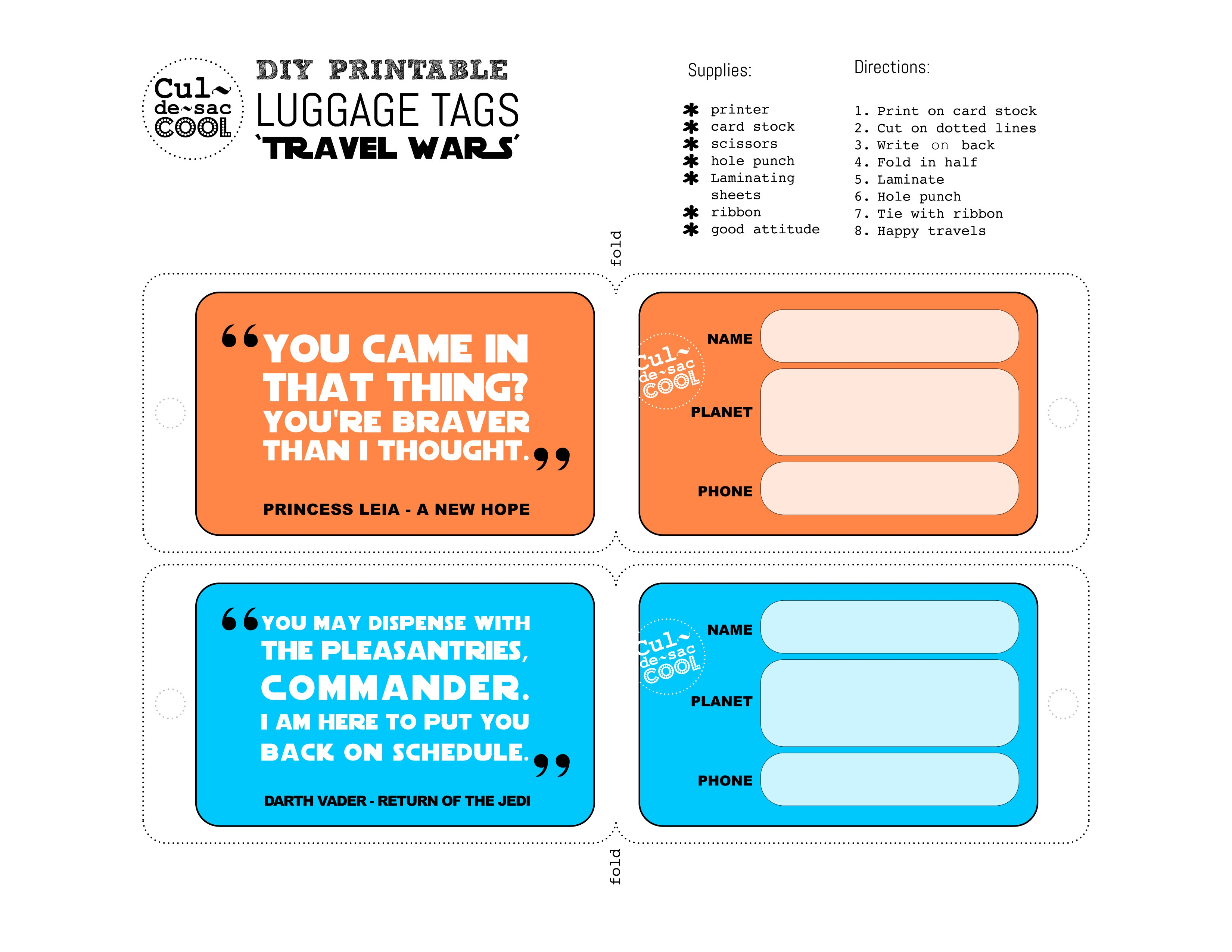 Diy Printable Luggage Tags 'travel Wars' - Free Printable Luggage Tags