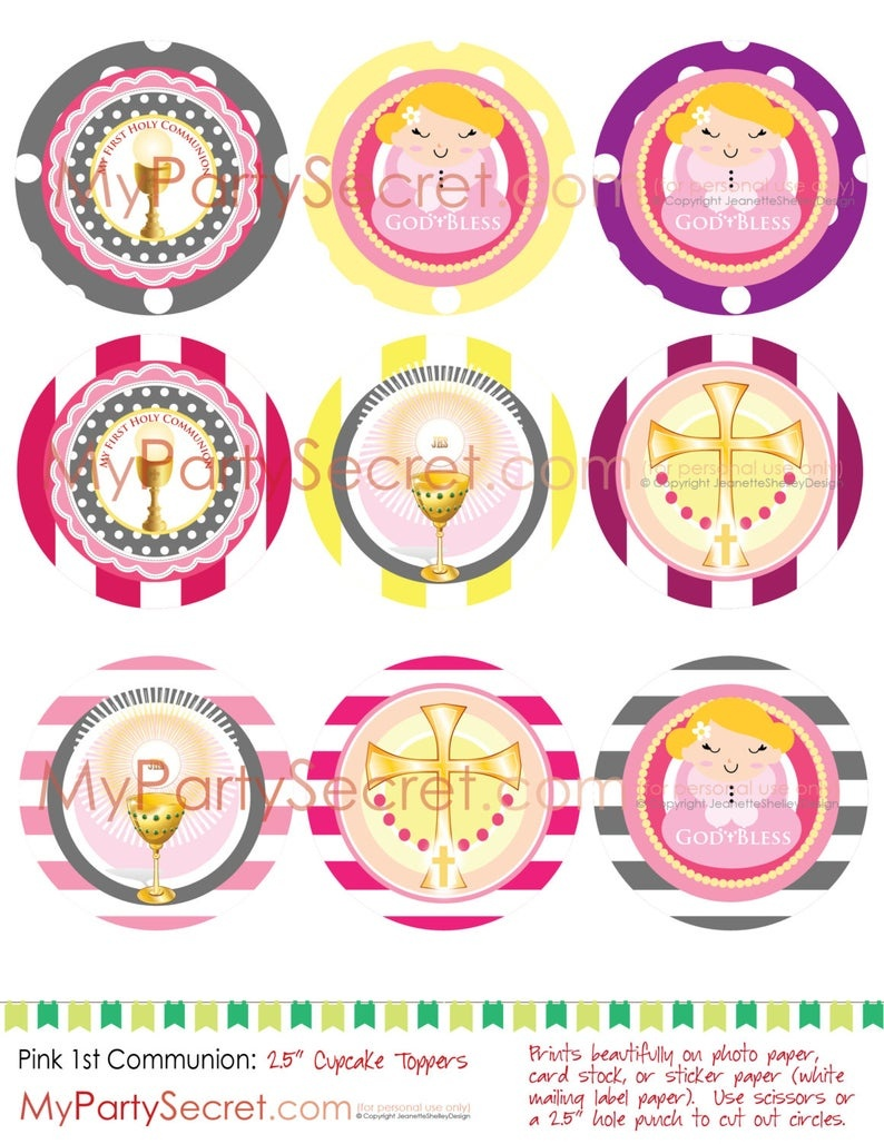 Diy Printable Pink 1St Communion Cupcake Toppers P L U S Easy | Etsy - Free Printable First Communion Cupcake Toppers