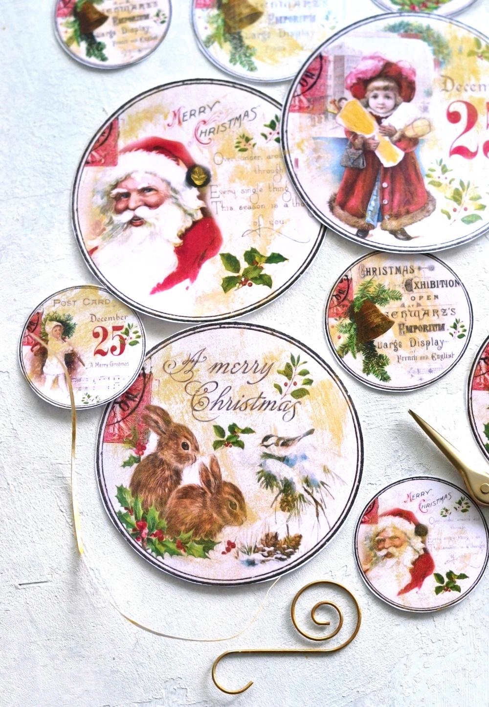 Diy Vintage Gold Christmas Gift Tags - Free Printable - Free Printable Vintage Christmas Tags For Gifts