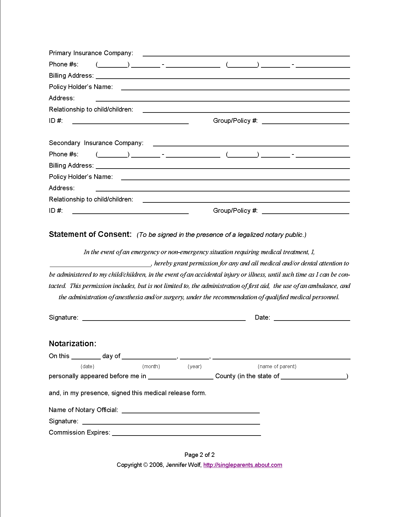 Do You Have A Medical Release Form For Your Kids? | Learning And - Free Printable Medical Consent Form