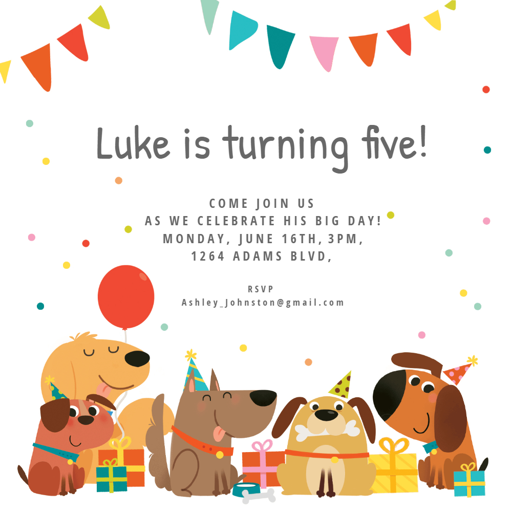 Dog Birthday Invitation Template (Free) | Greetings Island - Free Printable Puppy Dog Birthday Invitations