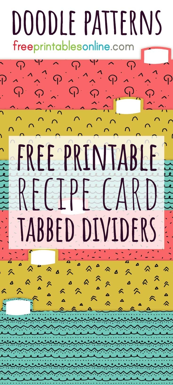 Doodle Patterns Recipe Card Box Dividers - Free Printables Online - Free Printable Recipe Dividers