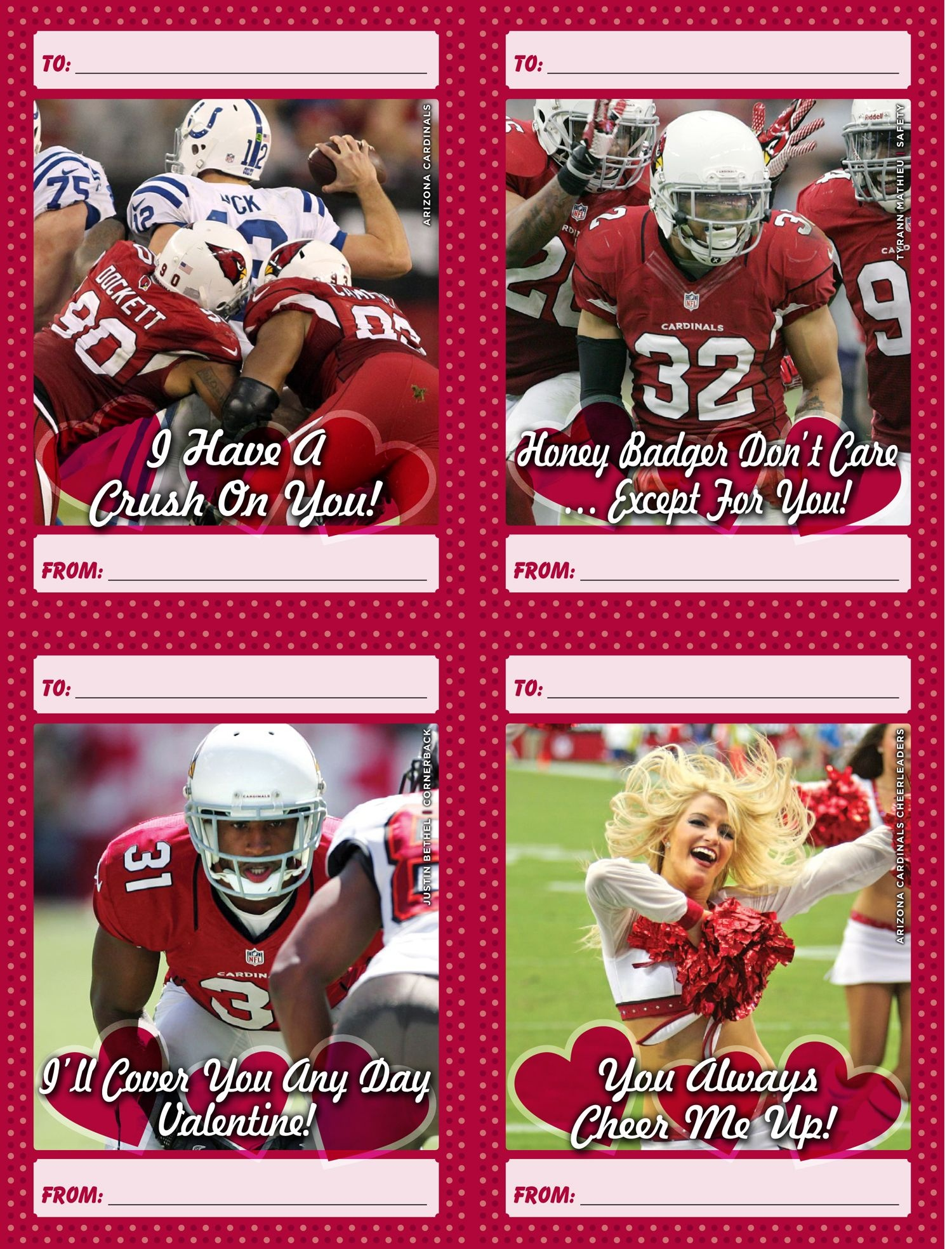 Download And Print A Set Of 12 Free Arizona Cardinals Valentine's - Free Printable Football Valentines Day Cards