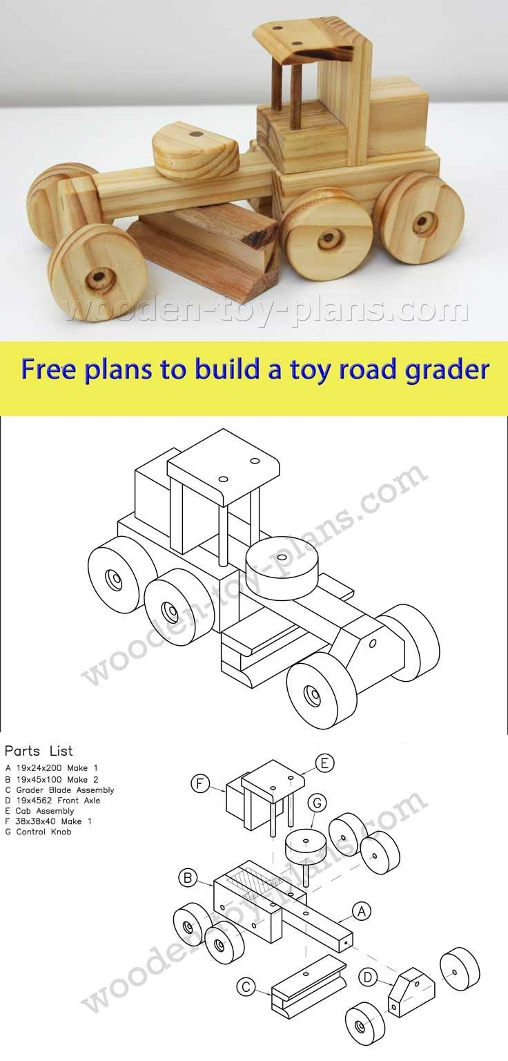 Download Free Printable Plans To Build This Toy Road Grader. Plans - Free Printable Woodworking Plans