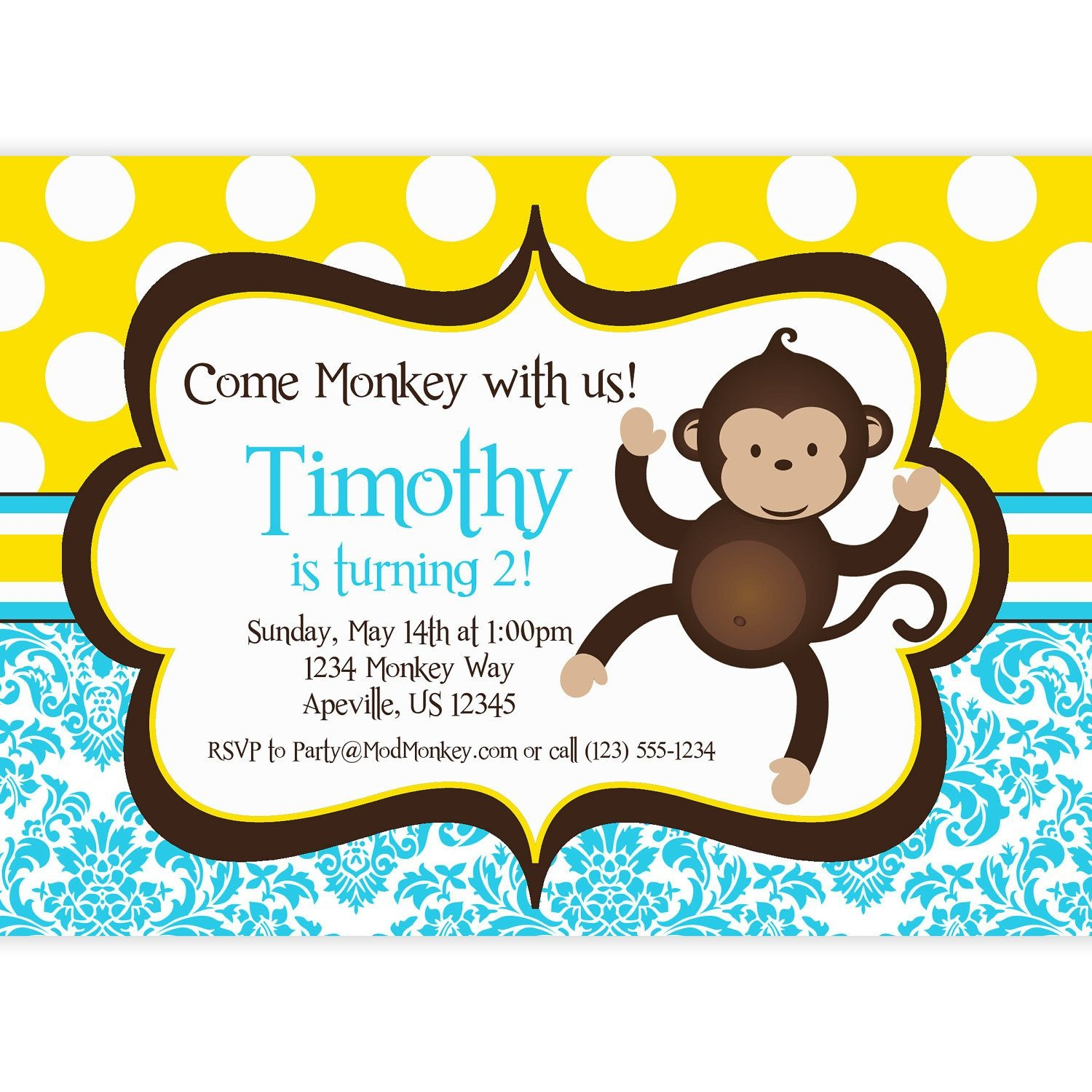 Download Now Free Monkey Birthday Invitations | Bagvania Invitation - Free Printable Monkey Birthday Party Invitations