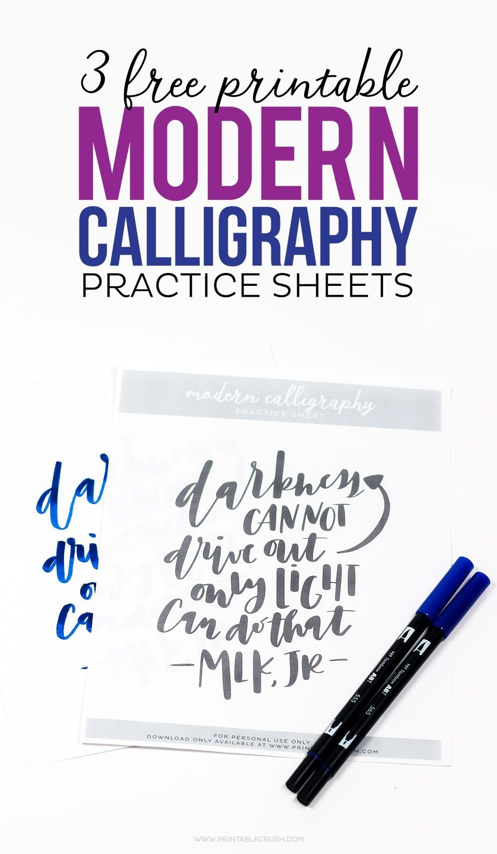 Download These 3 Free Printable Modern Calligraphy Practice Sheets - Calligraphy Practice Sheets Printable Free