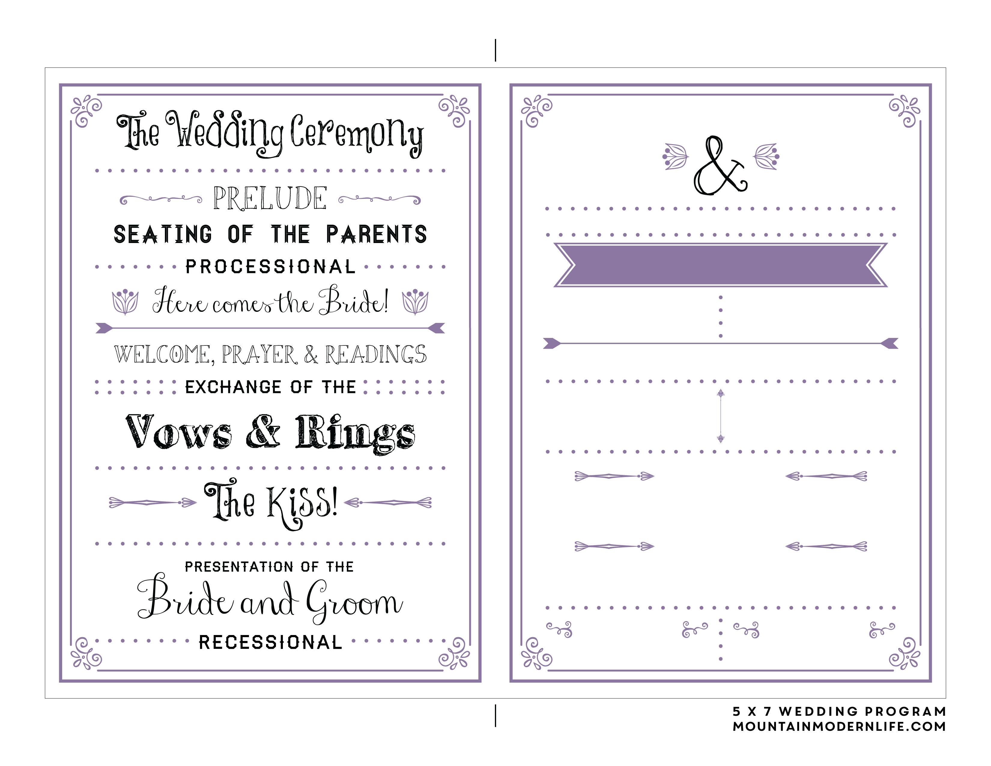 Downloadable Wedding Program Templates Free - Tutlin.psstech.co - Free Printable Wedding Program Samples