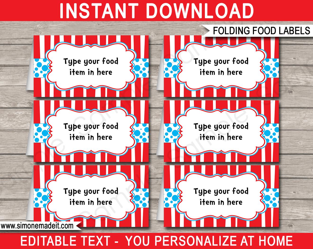 Dr Seuss Party Food Labels   Place Cards   Dr Seuss Theme Party - Dr Seuss Free Printable Templates