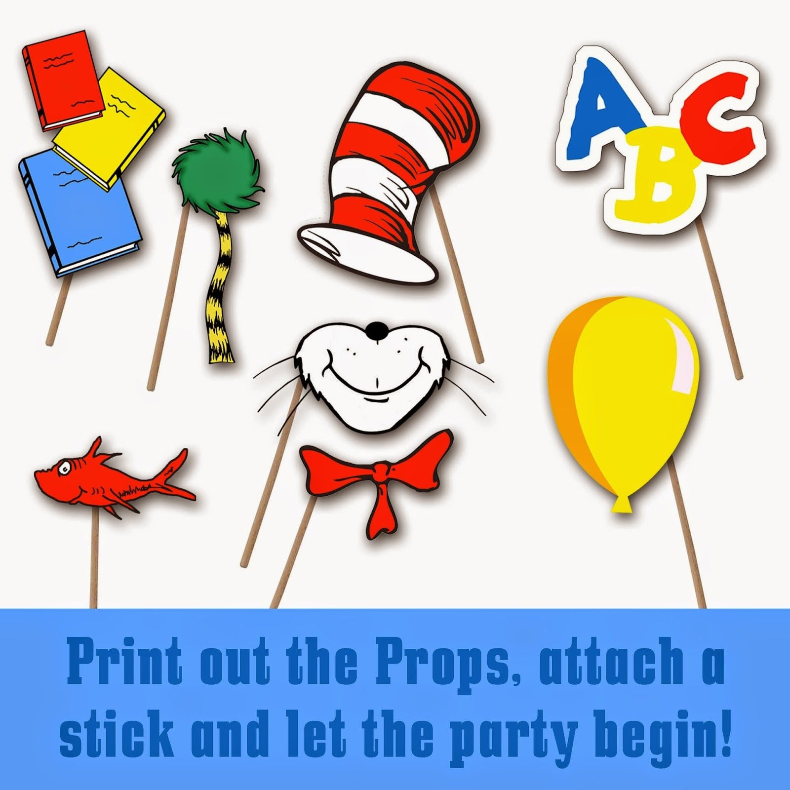 Dr. Seuss Photo Booth Printable Props   School-Dr. Seuss - Free Printable Dr Seuss Photo Props