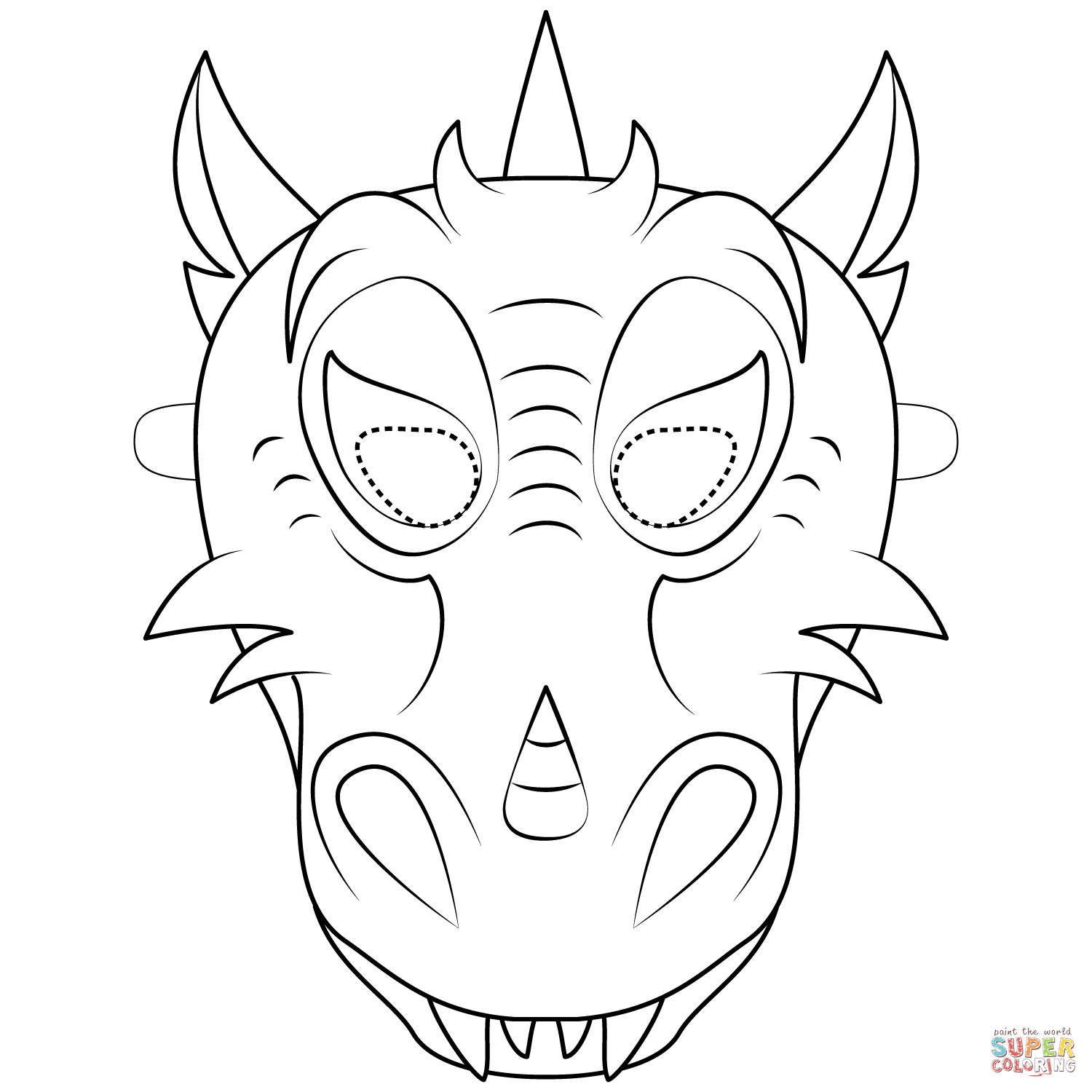 Dragon Mask Coloring Page | Free Printable Coloring Pages - Dragon Mask Printable Free