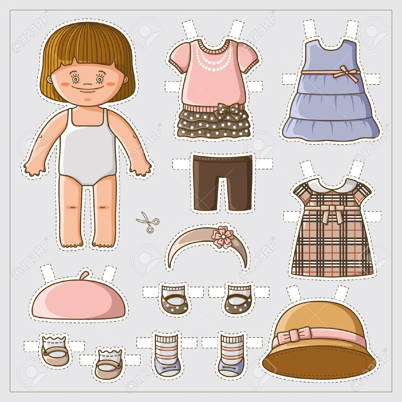 Dress Up Cute Paper Doll With Body Template Royalty Free Cliparts - Free Printable Dress Up Paper Dolls