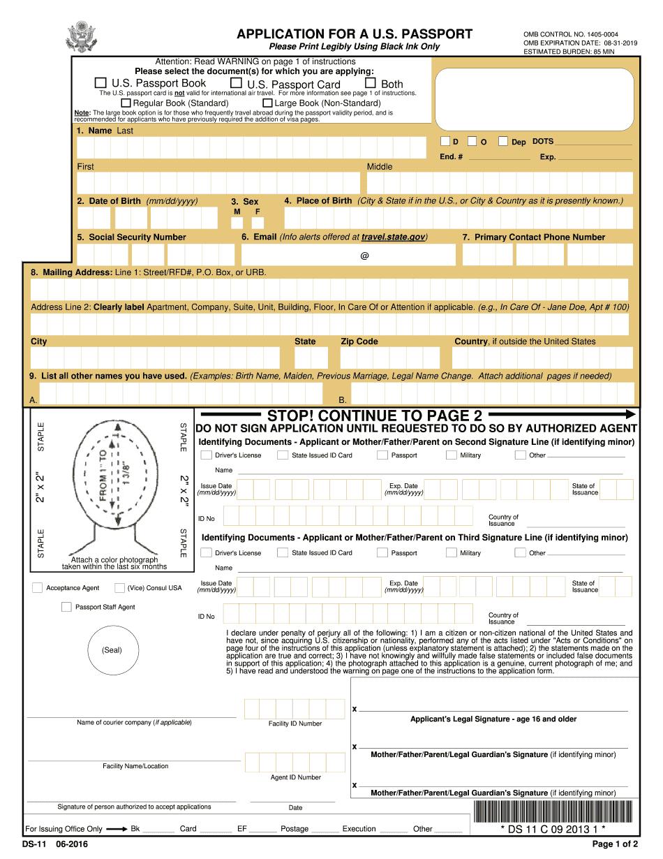 Ds-11 Form 2018 - Fillable & Printable Online Pdf Sample - Free Printable Ds 11