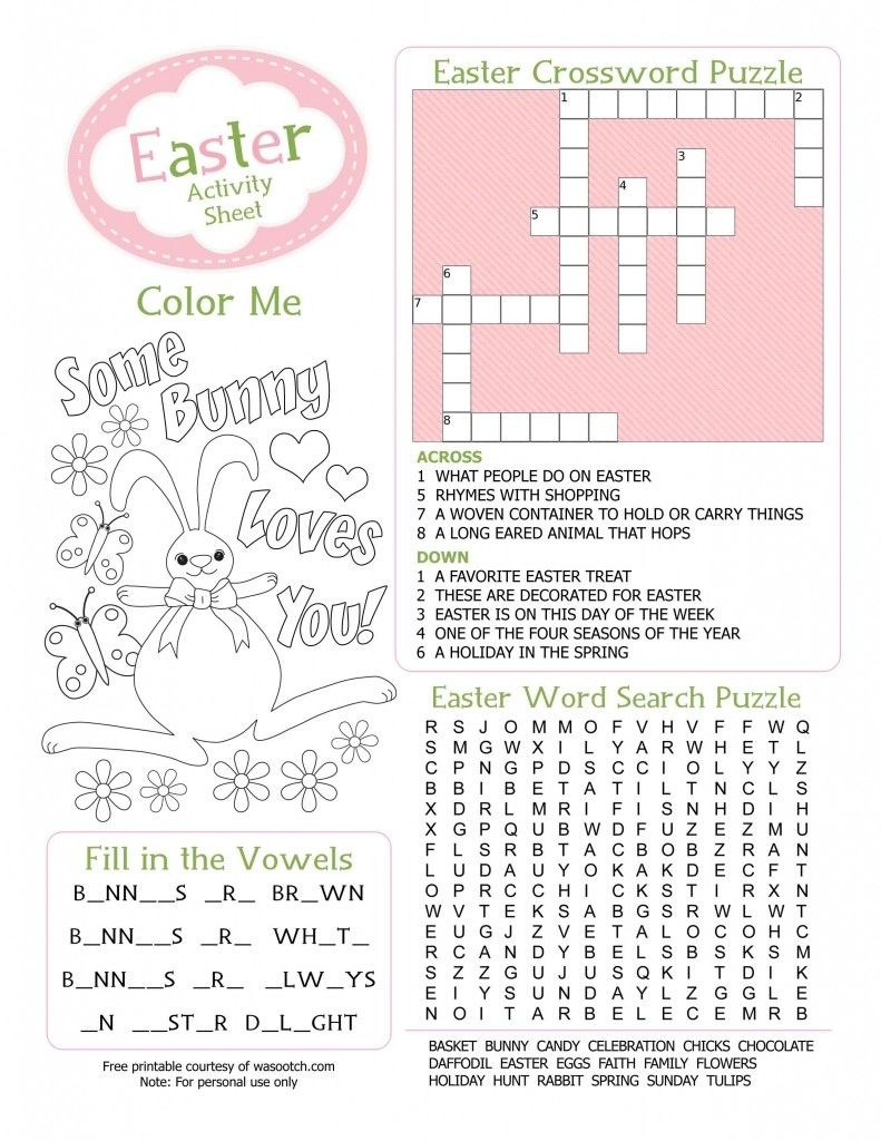 Easter Kids Activity Sheet Free Printable From Wasootch 791X1024 - Free Printable Easter Puzzles For Adults