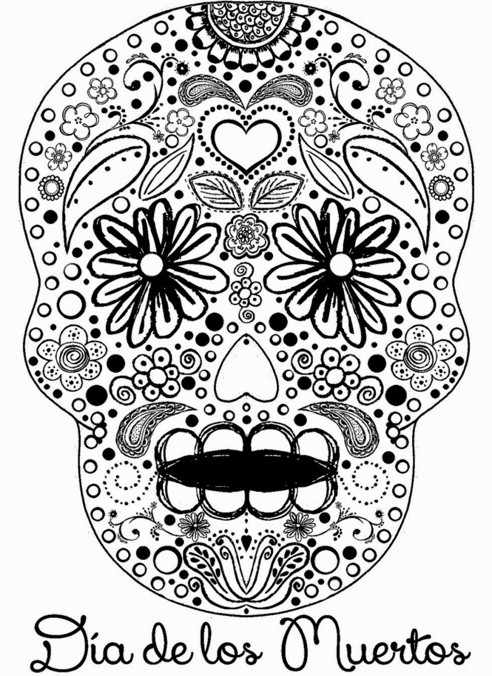Easy Day Of The Dead Coloring Pages. Day Of The Dead Coloring Pages - Free Printable Day Of The Dead Worksheets