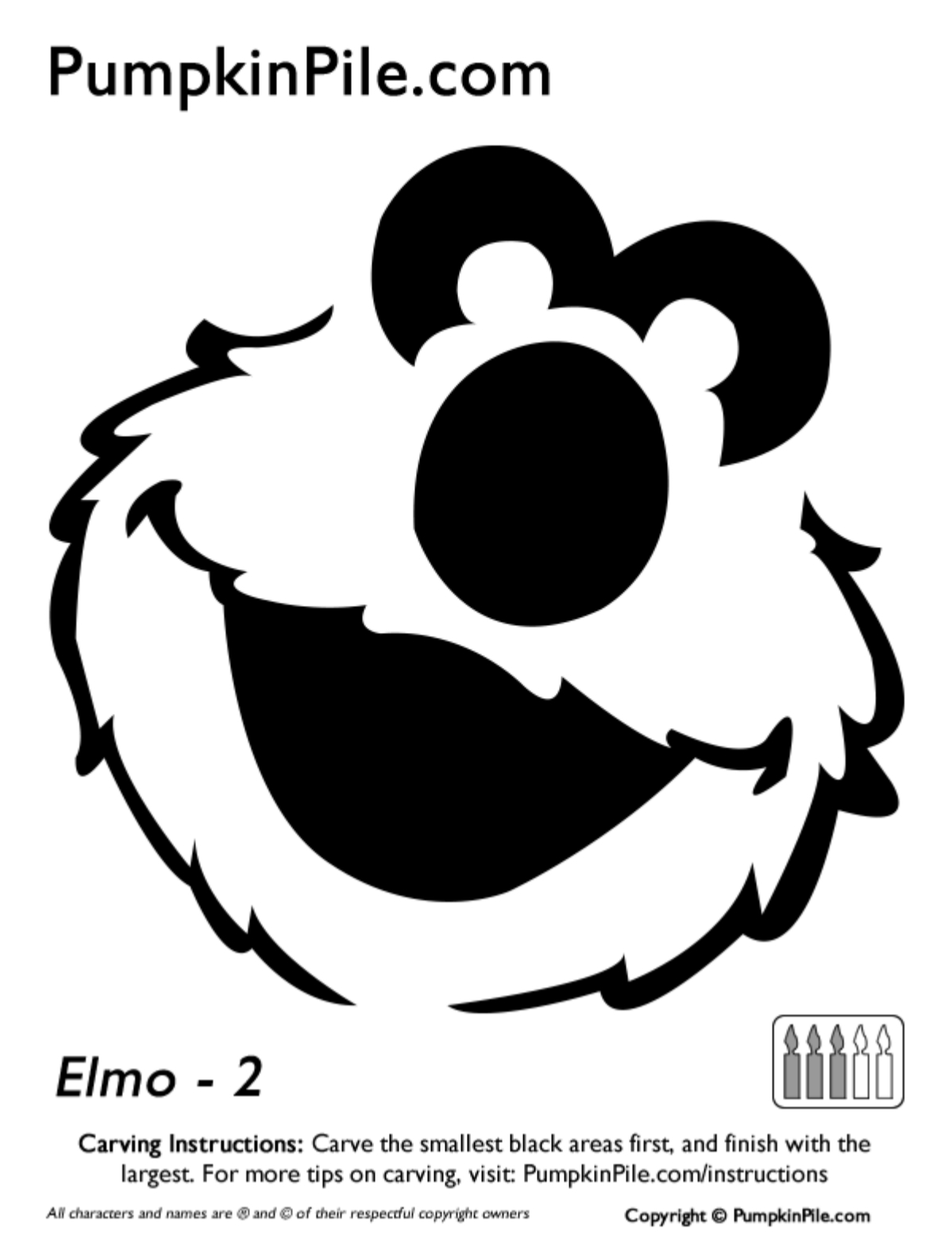 Easy Elmo Face Pumpkin Carving Stencil Template Free Printable - Free Elmo Pumpkin Pattern Printable