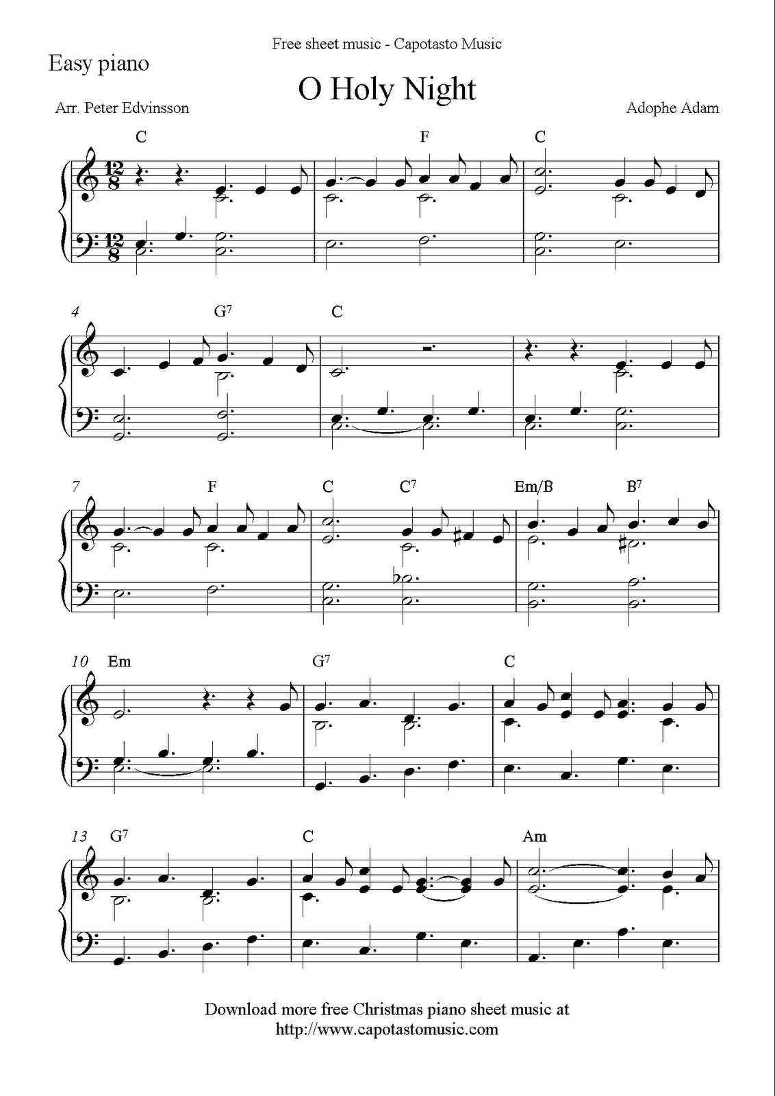 Easy Piano Solo Arrangementpeter Edvinsson Of The Christmas - Frozen Piano Sheet Music Free Printable