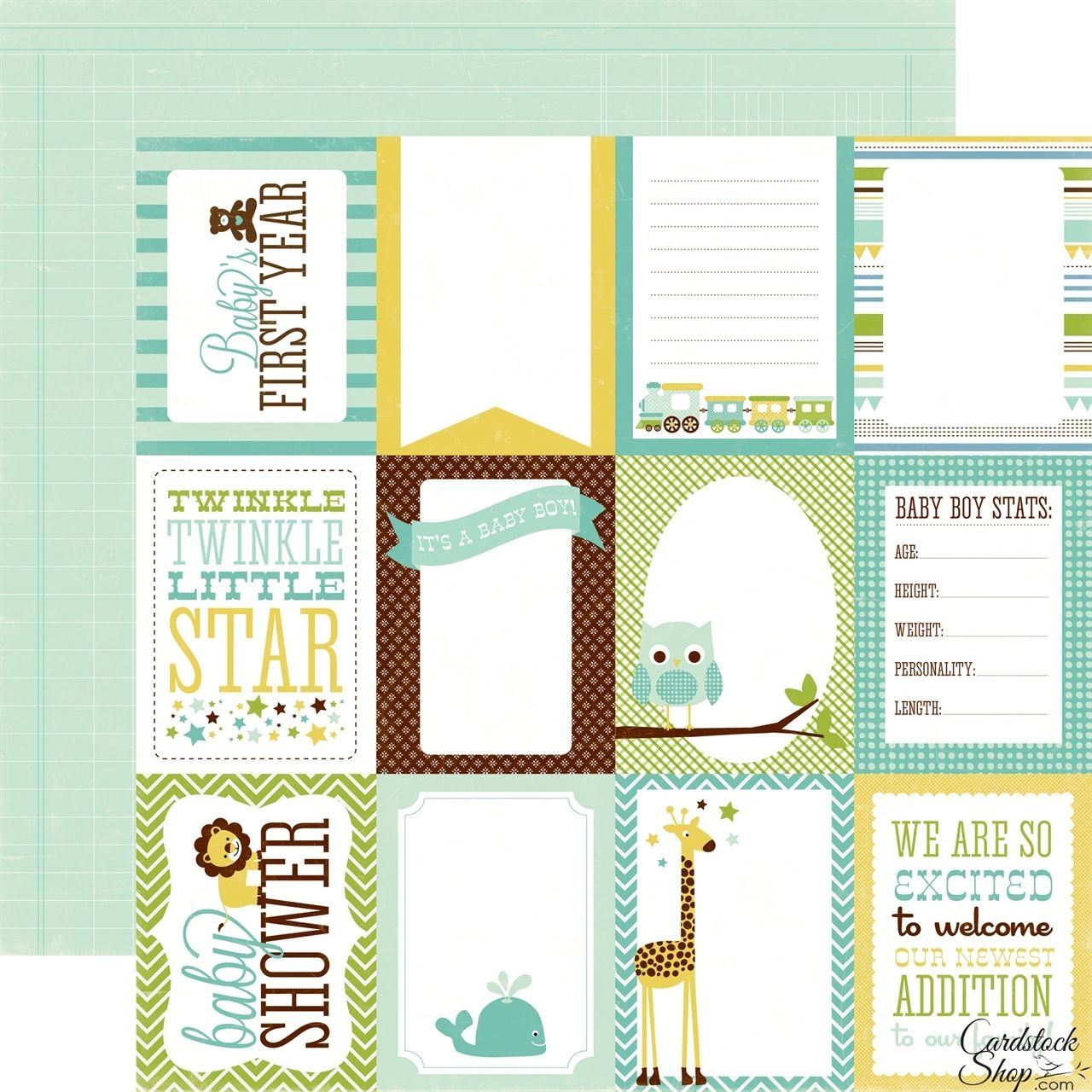 Echo Park - Bundle Of Joy Collection - Boy - 12 X 12 Double Sided - Free Printable Baby Scrapbook Pages