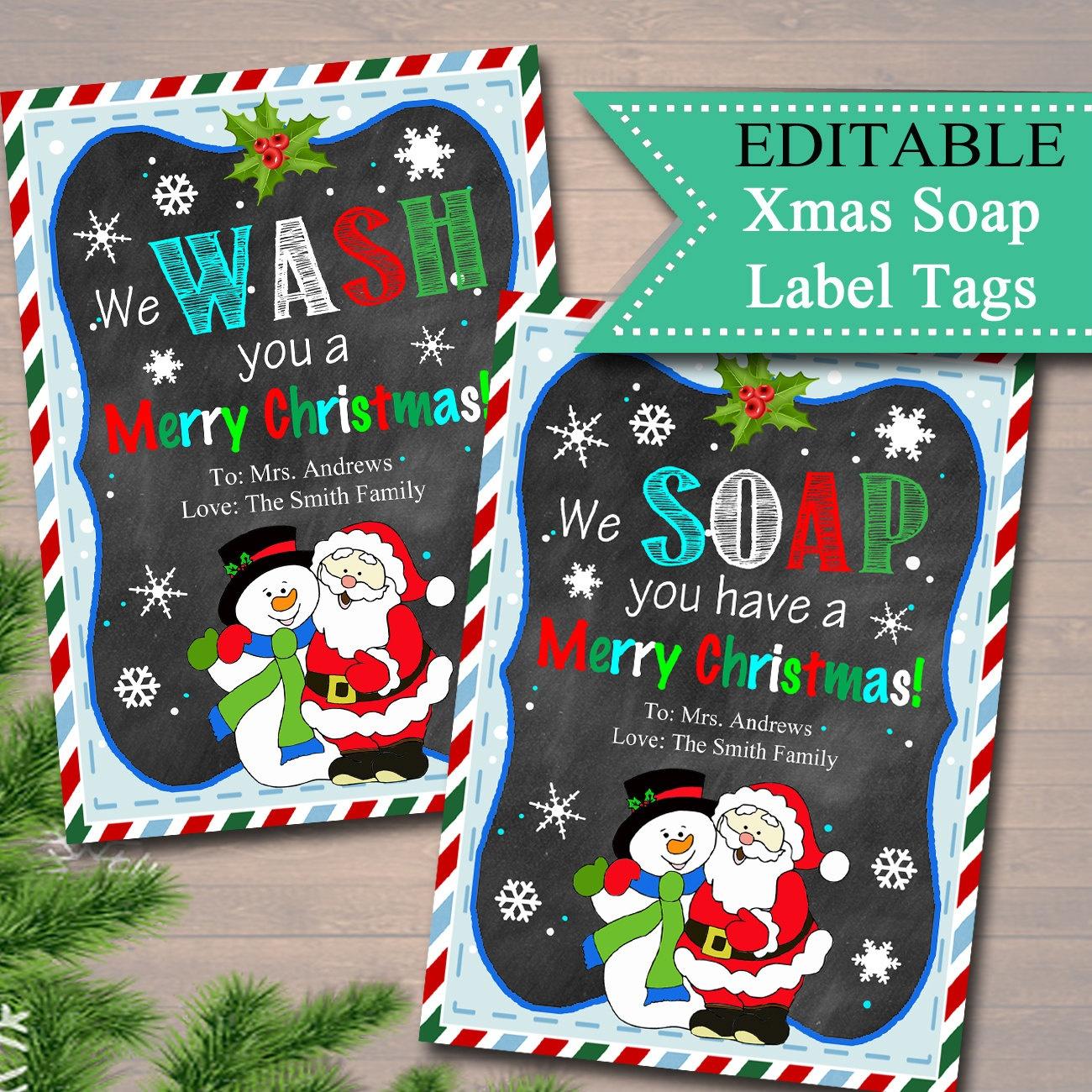 Editable Christmas Soap Tags Printable Holiday Soap Labels | Etsy - We Wash You A Merry Christmas Free Printable