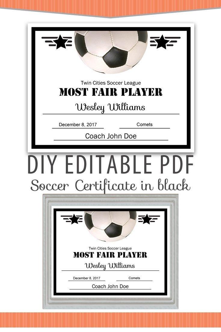 Editable Pdf Sports Team Soccer Certificate Diy Award Template In - Free Printable Soccer Certificate Templates
