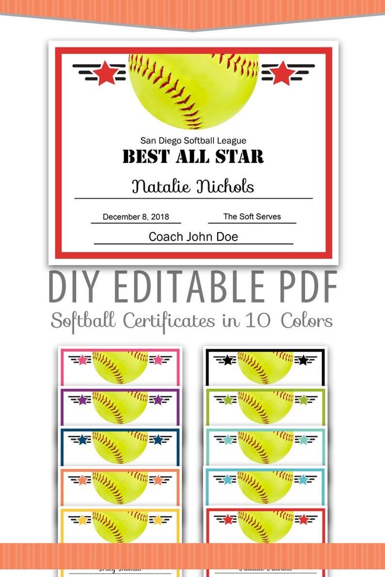 Editable Pdf Sports Team Softball Certificate Award Template | Etsy - Free Printable Softball Certificates