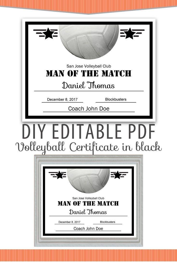 Editable Pdf Sports Team Volleyball Certificate Diy Award Template - Free Printable Softball Certificates