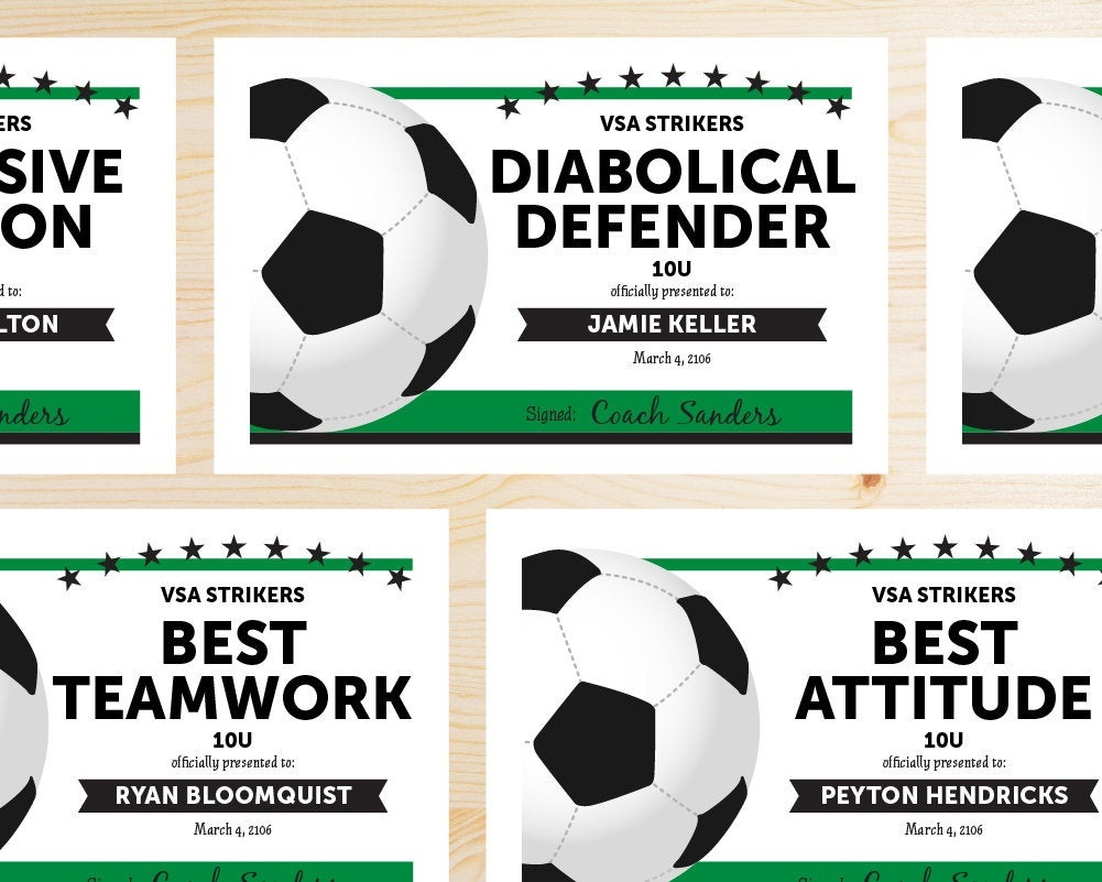 Editable Soccer Award Certificates Instant Download | Etsy - Free Printable Soccer Certificate Templates