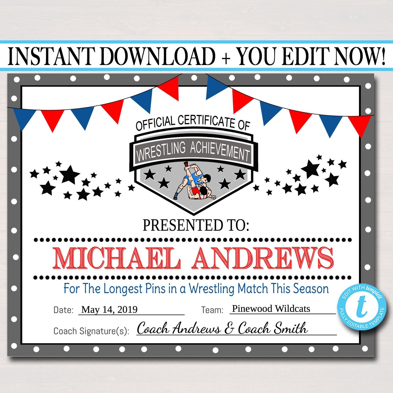 Editable Wrestling Award Certificates Instant Download   Etsy - Free Printable Wrestling Certificates