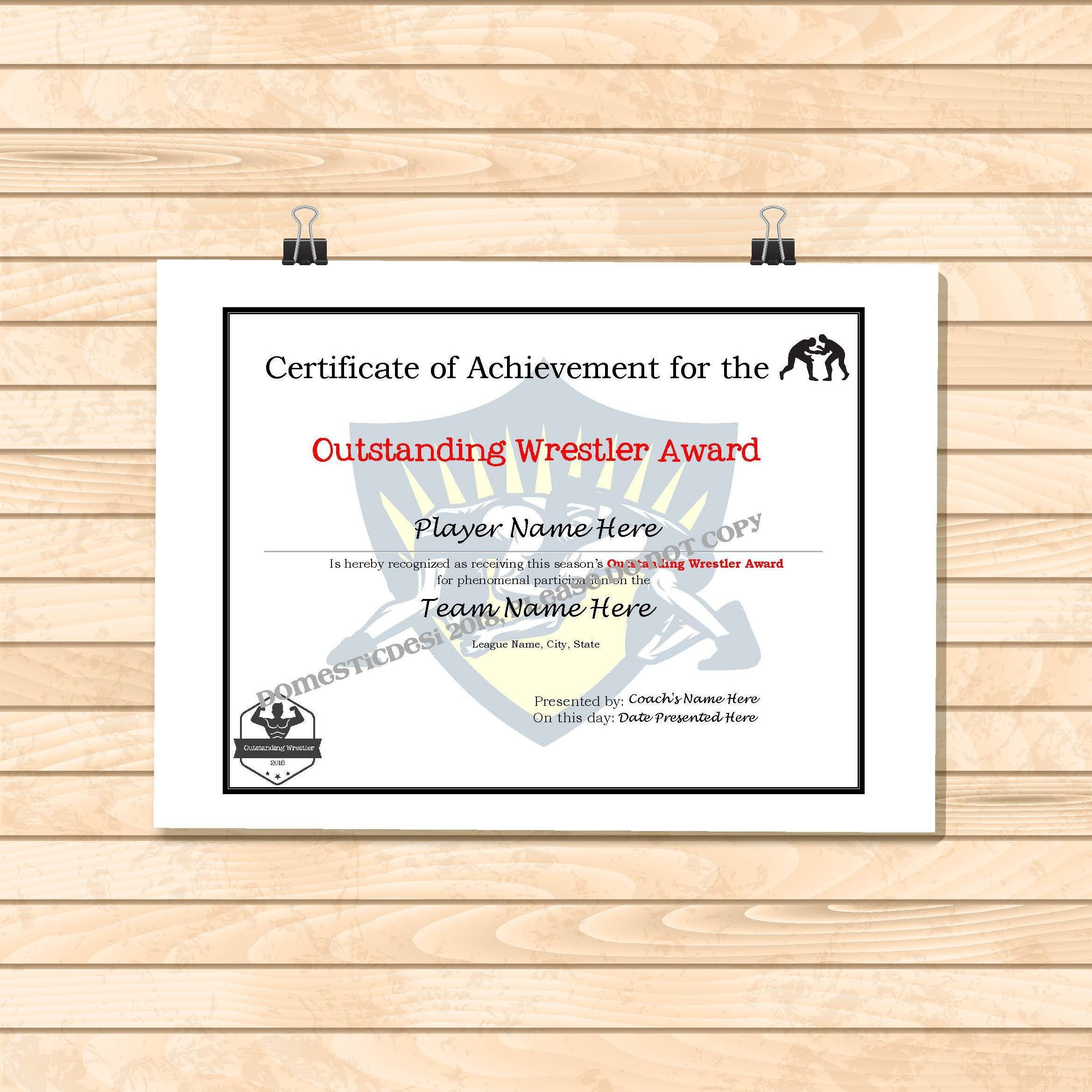 Editable Wrestling Certificates-Digital Downloadable Printable   Etsy - Free Printable Wrestling Certificates