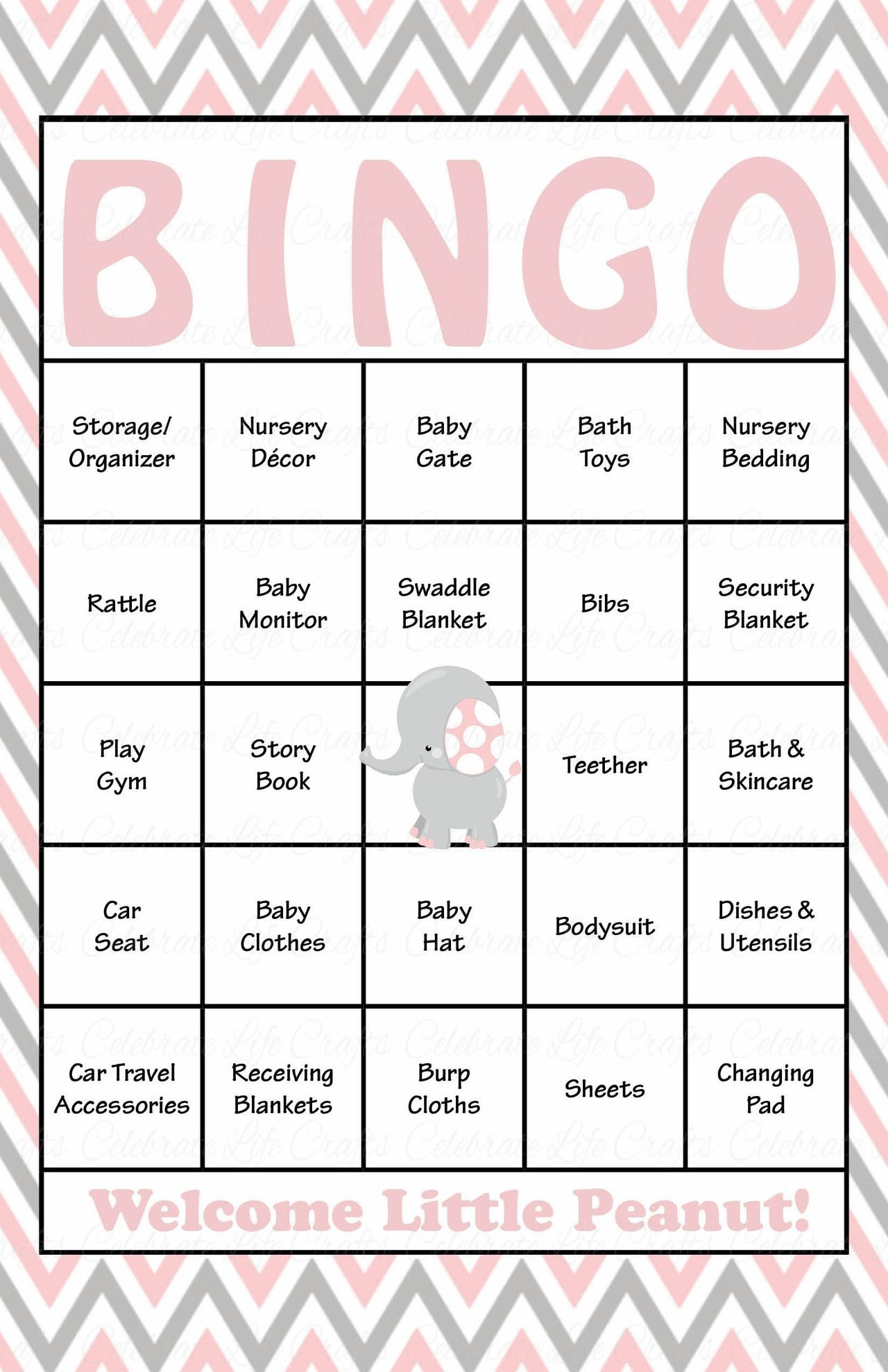 Elephant Baby Shower - Baby Bingo Cards - Printable Download - Baby - 50 Free Printable Baby Bingo Cards