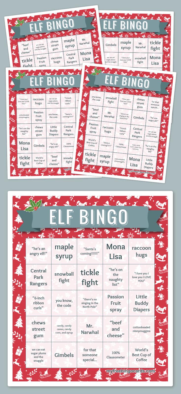Elf Bingo | Library Displays | Christmas Bingo Cards, Free Bingo - Fraction Bingo Cards Printable Free