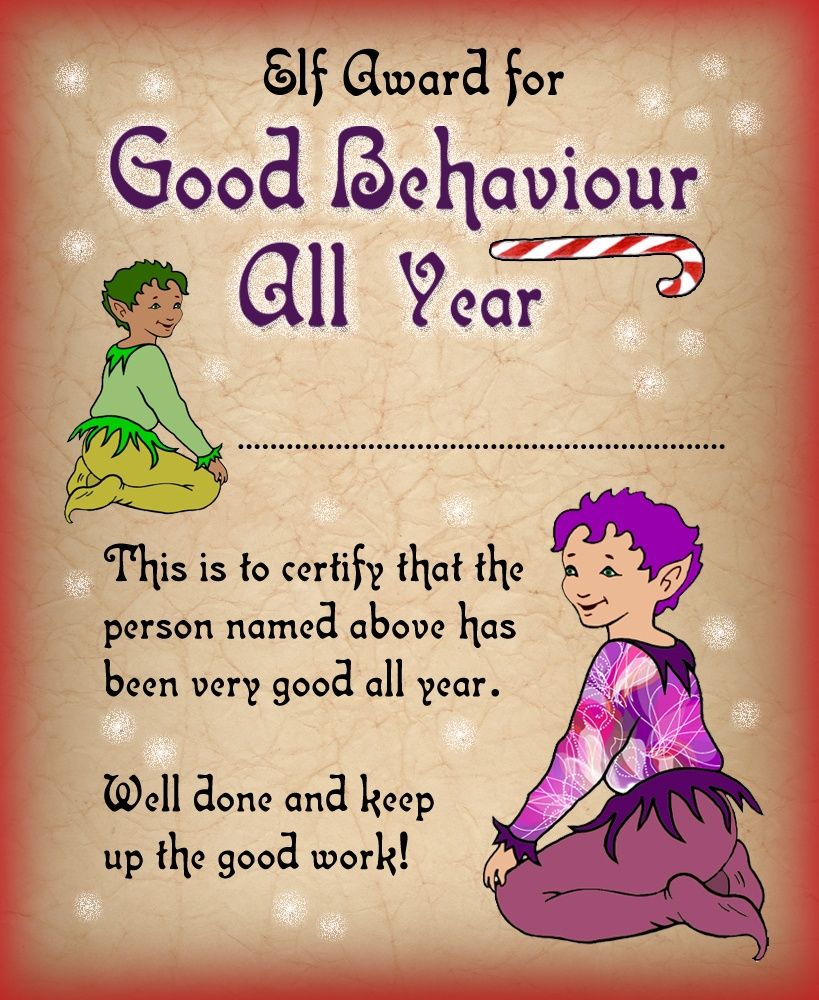 Elf Certificate: Award For Good Behaviour All Year | Rooftop Post - Good Behaviour Certificates Free Printable