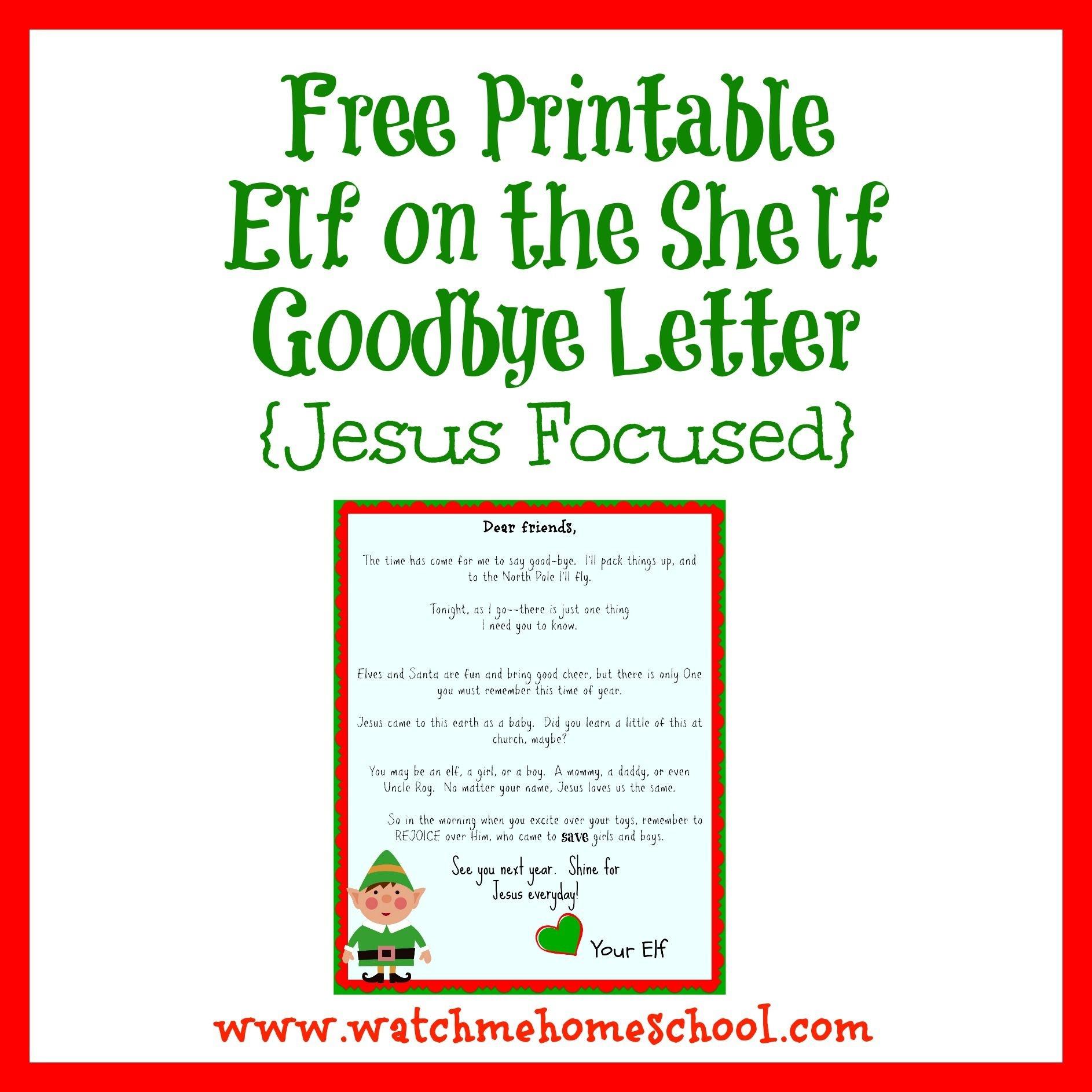 Elf On The Shelf Farewell Letter Printable | Elf On The Shelf | Elf - Elf On The Shelf Goodbye Letter Free Printable