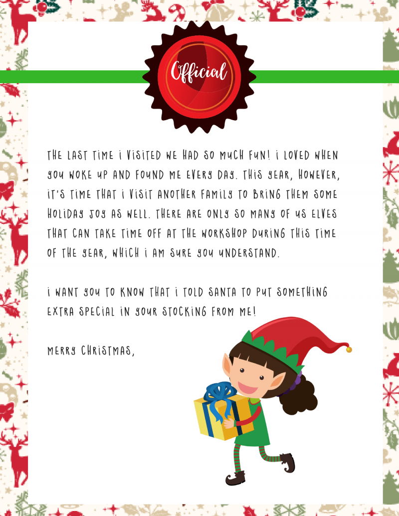 Elf On The Shelf Goodbye Letter : Free Printable - - Free Printable Elf Stationery