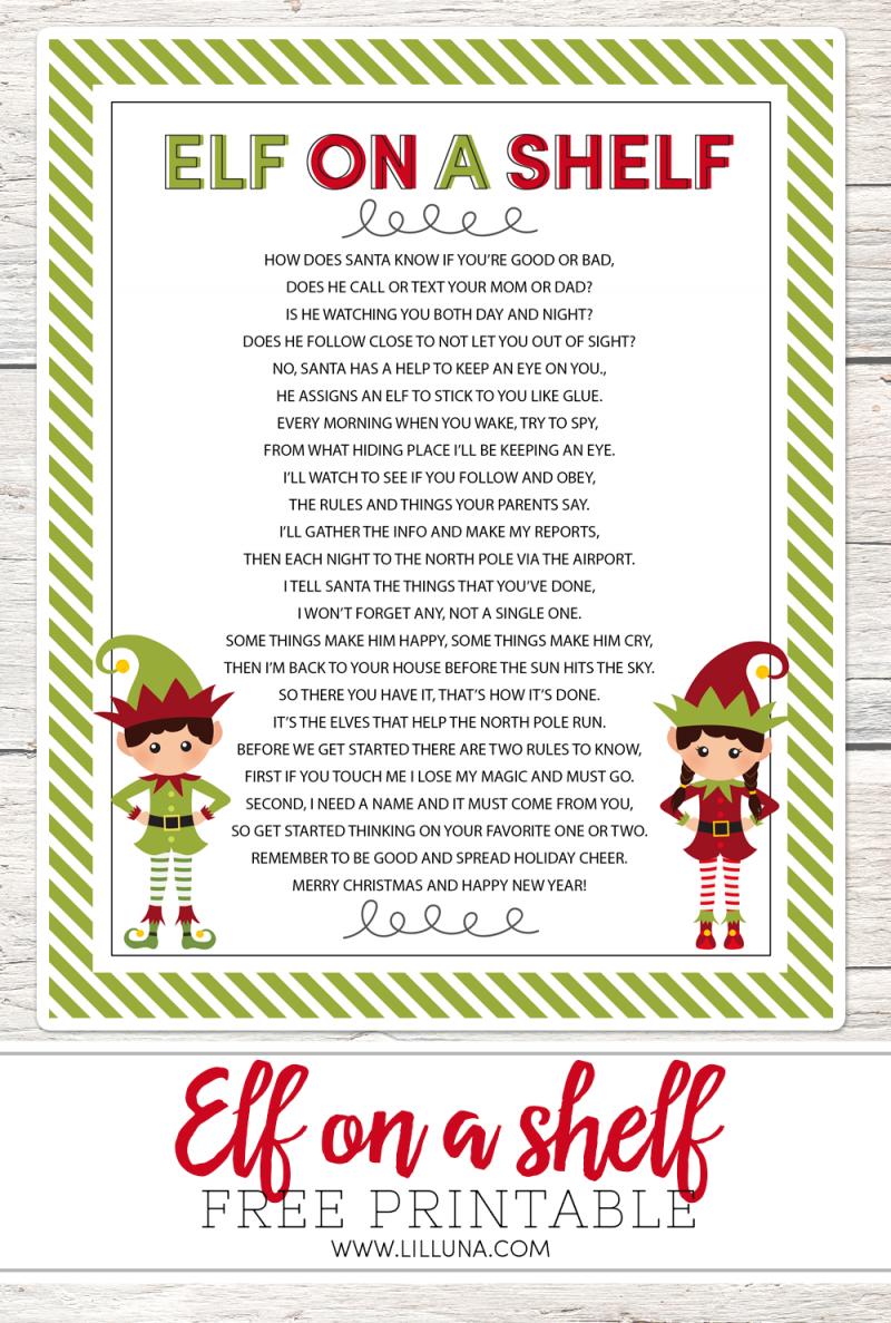 Elf On The Shelf Story - Free Printable Poem | Advent Poems | Elf On - Free Printable Elf On The Shelf Story