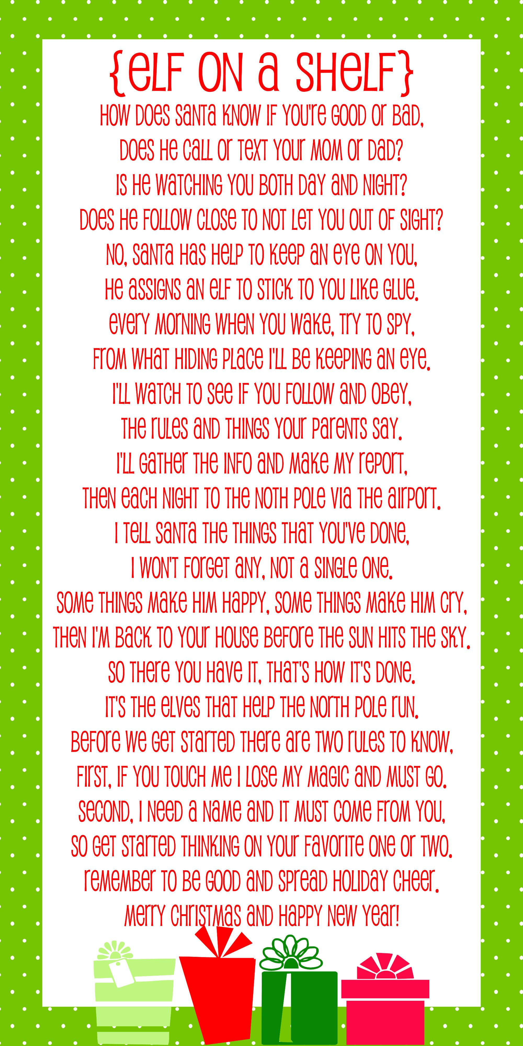 Elf On The Shelf Story - Free Printable Poem | Christmas | Elf On - Free Printable Elf On The Shelf Story