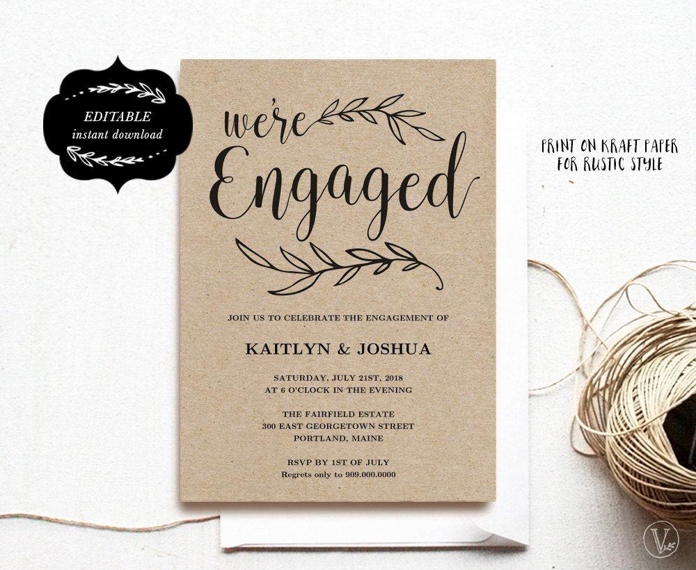Engagement Invitation Template, Printable Engagement Party - Free Printable Engagement Invitations
