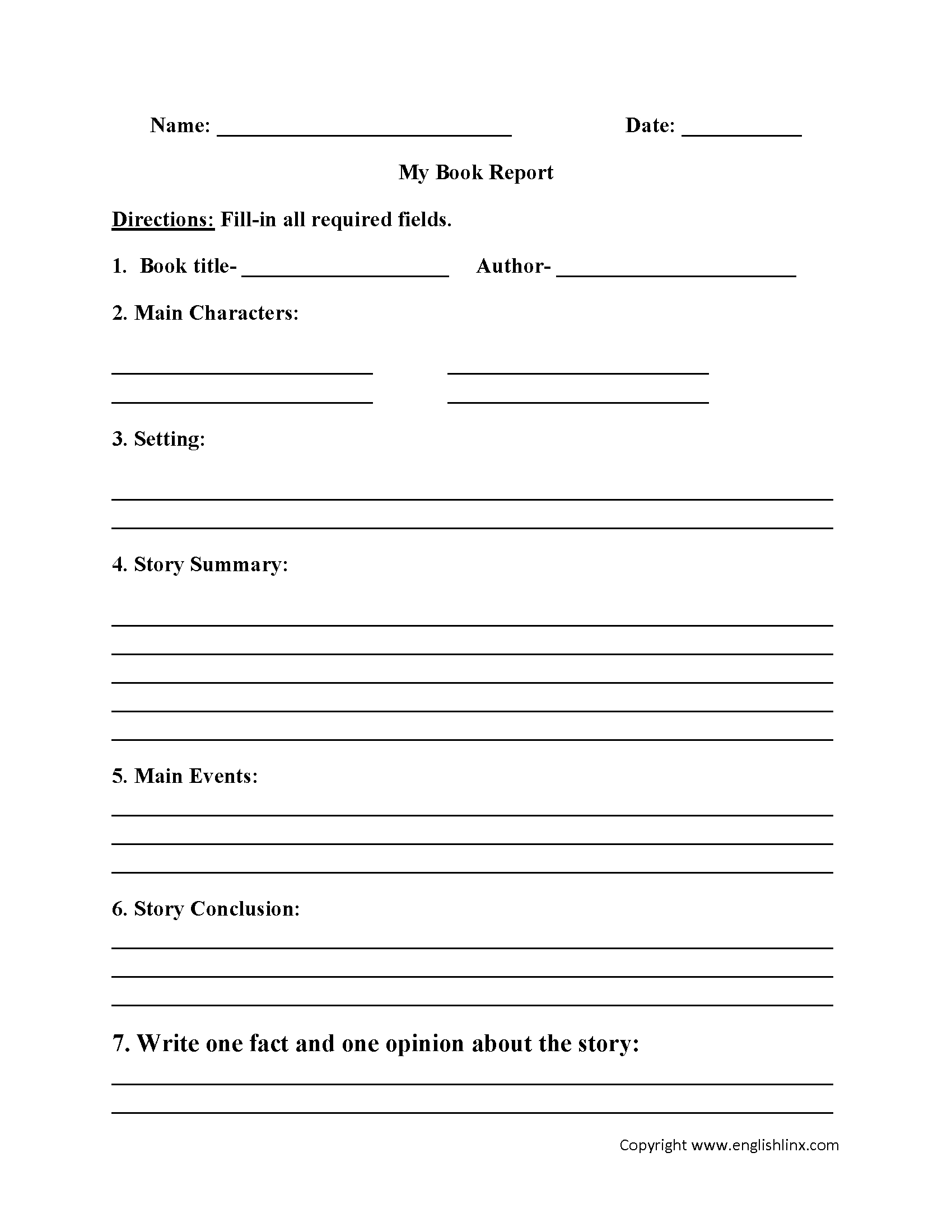 Englishlinx | Book Report Worksheets - Free Printable Book Report Forms