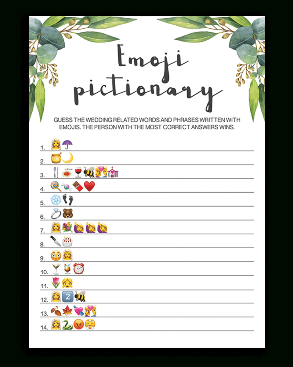 Eucalyptus Bridal Shower Emoji Pictionary Printable - Re1 - Wedding Emoji Pictionary Free Printable