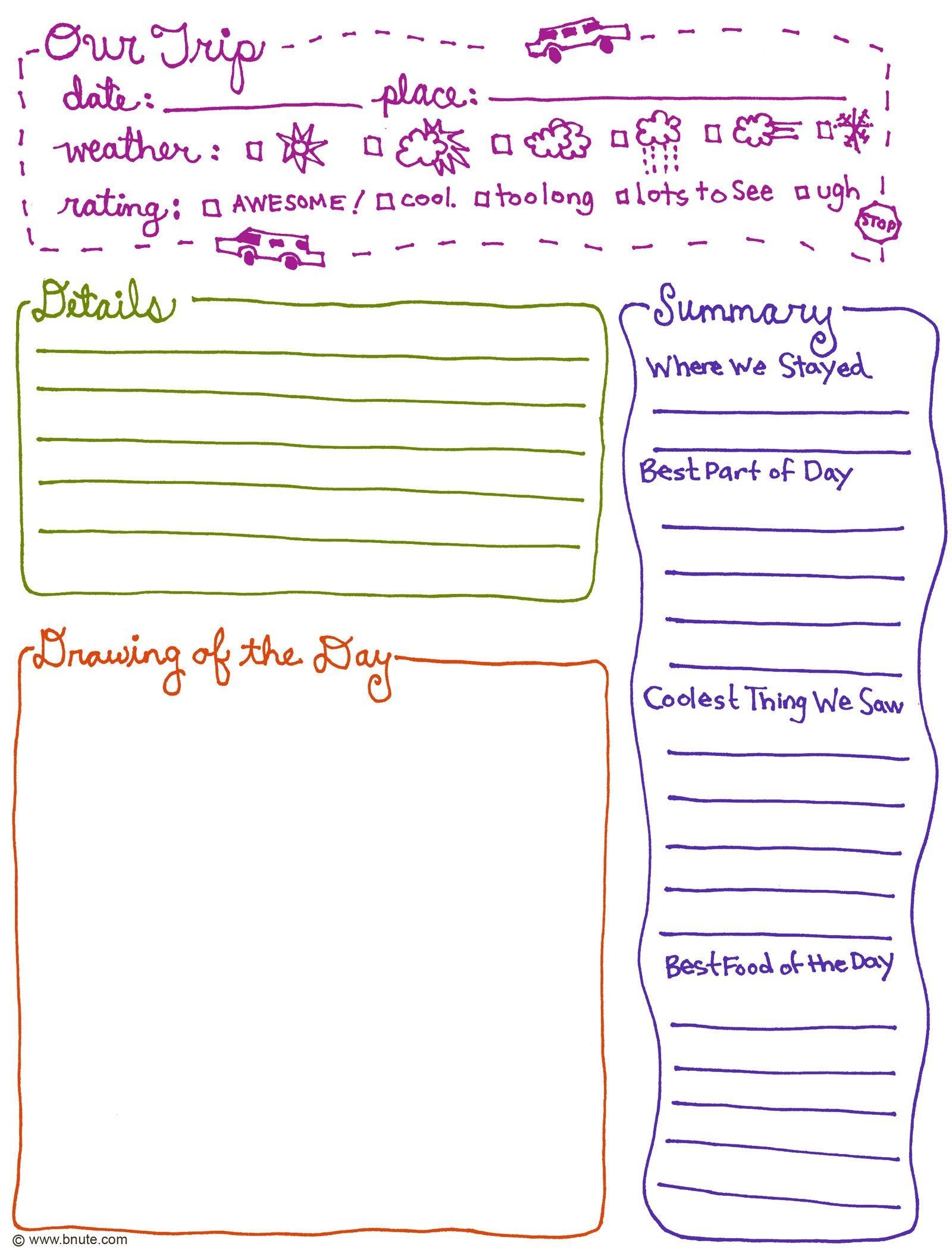 Exclusive Free Printables | Journal Ideas | Kids Travel Journal - Free Printable Walking Log